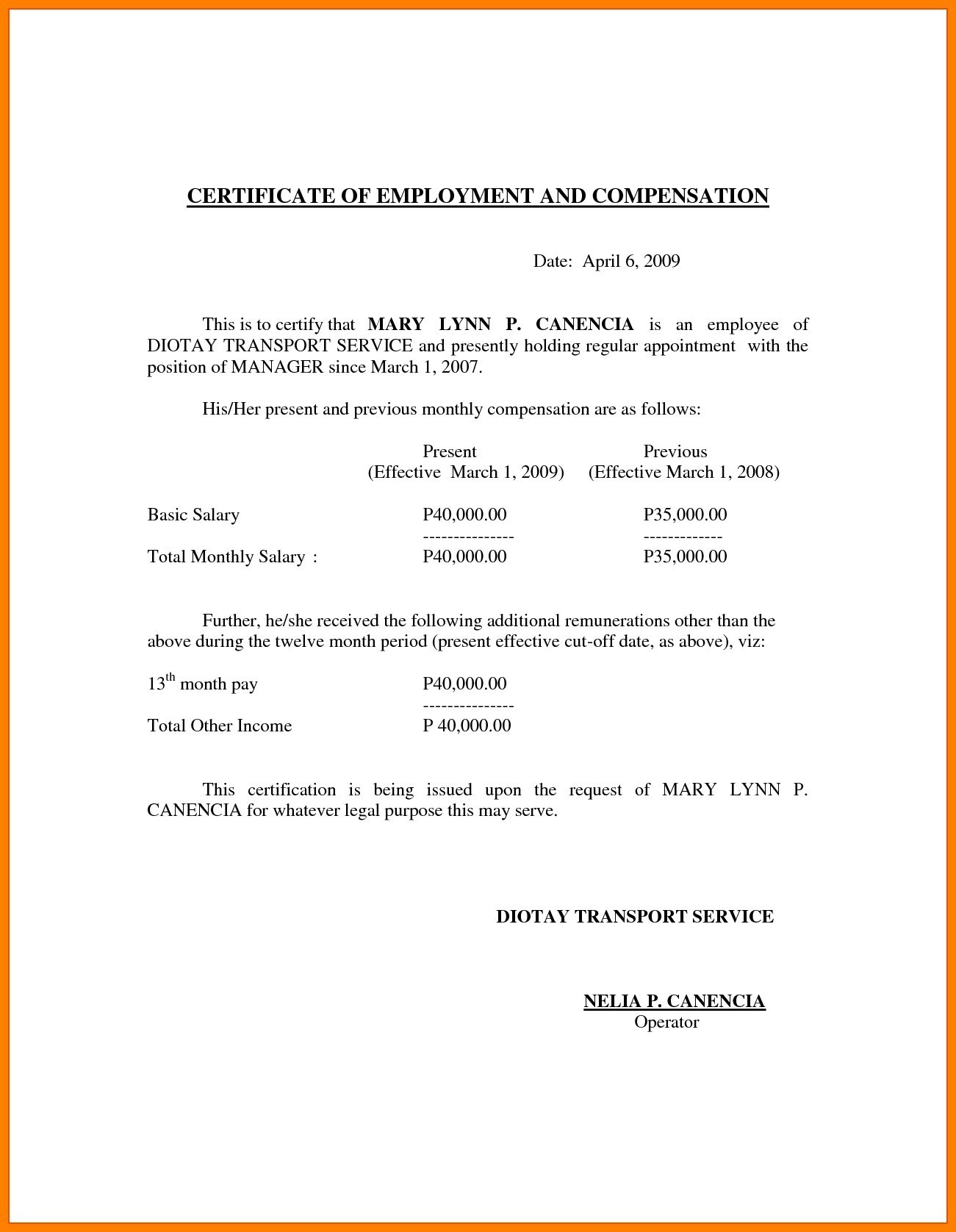 Letter Of Separation From Employer Template - Sample format Certificate Employment with Pensation New