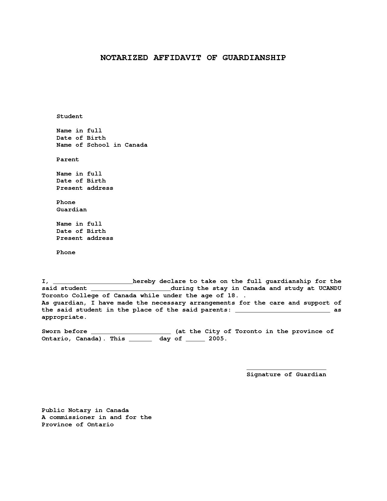 Notary Letter Template - Sample Guardianship Letter Unique Nice Temporary Guardianship Letter