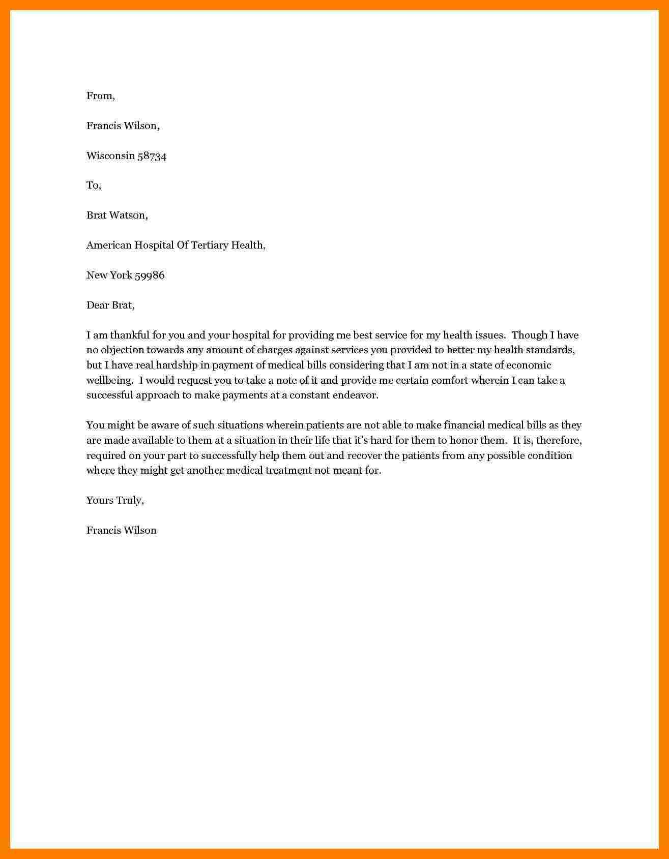 Immigration Hardship Letter Template - Sample Hardship Letter Medical Bills Inspirationa Sample Hardship