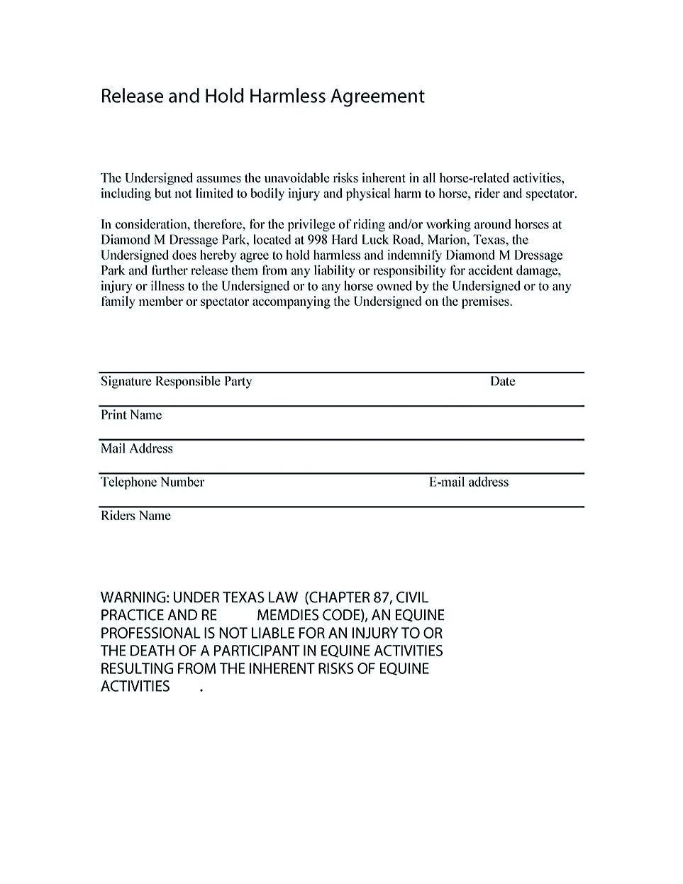 Hold Harmless Letter Template - Sample Hold Harmless Agreement Design Templates