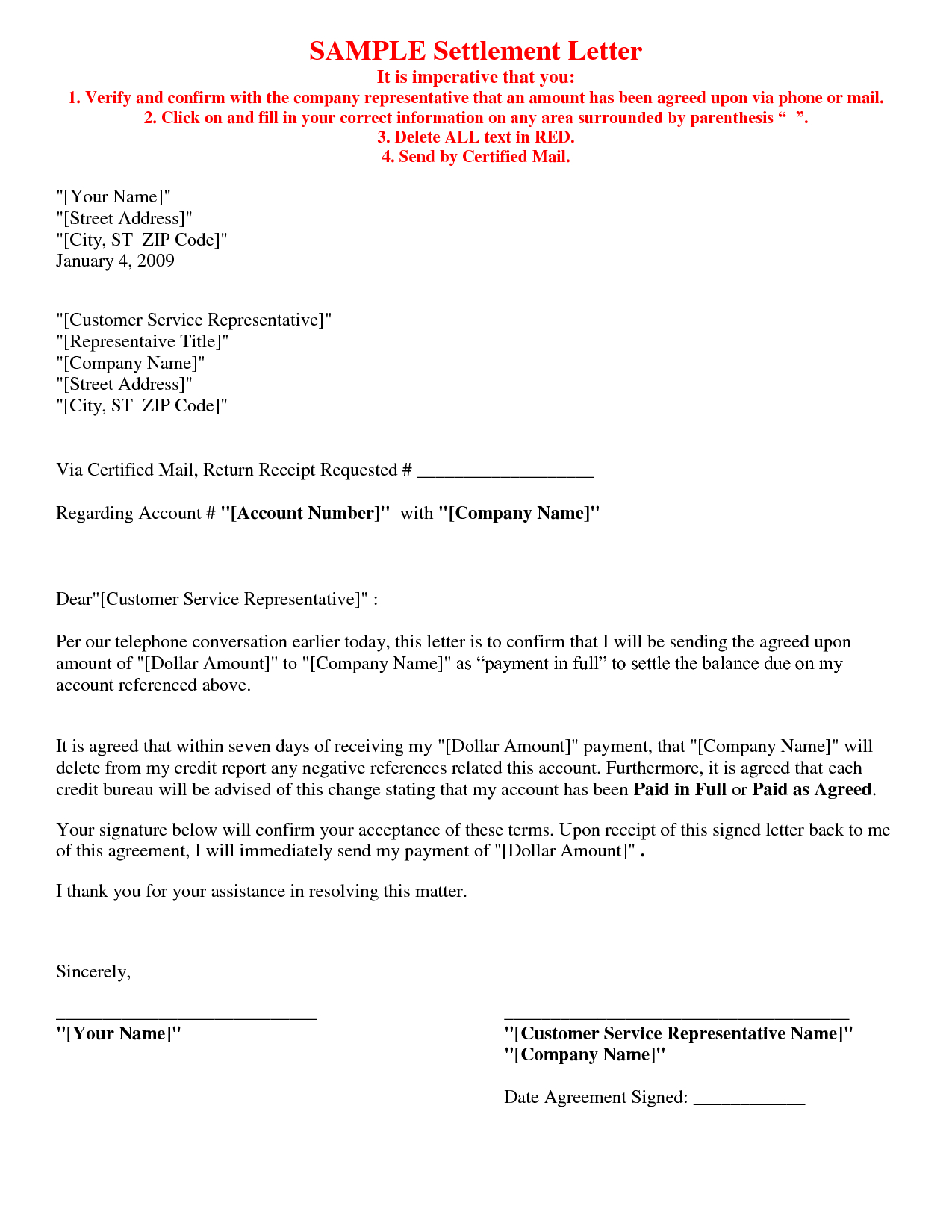 Sample Letter Full And Final Settlement Car Accident