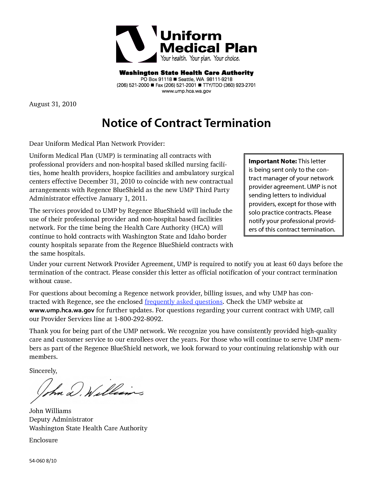 Termination Letter Template - Sample Letter for Termination Services