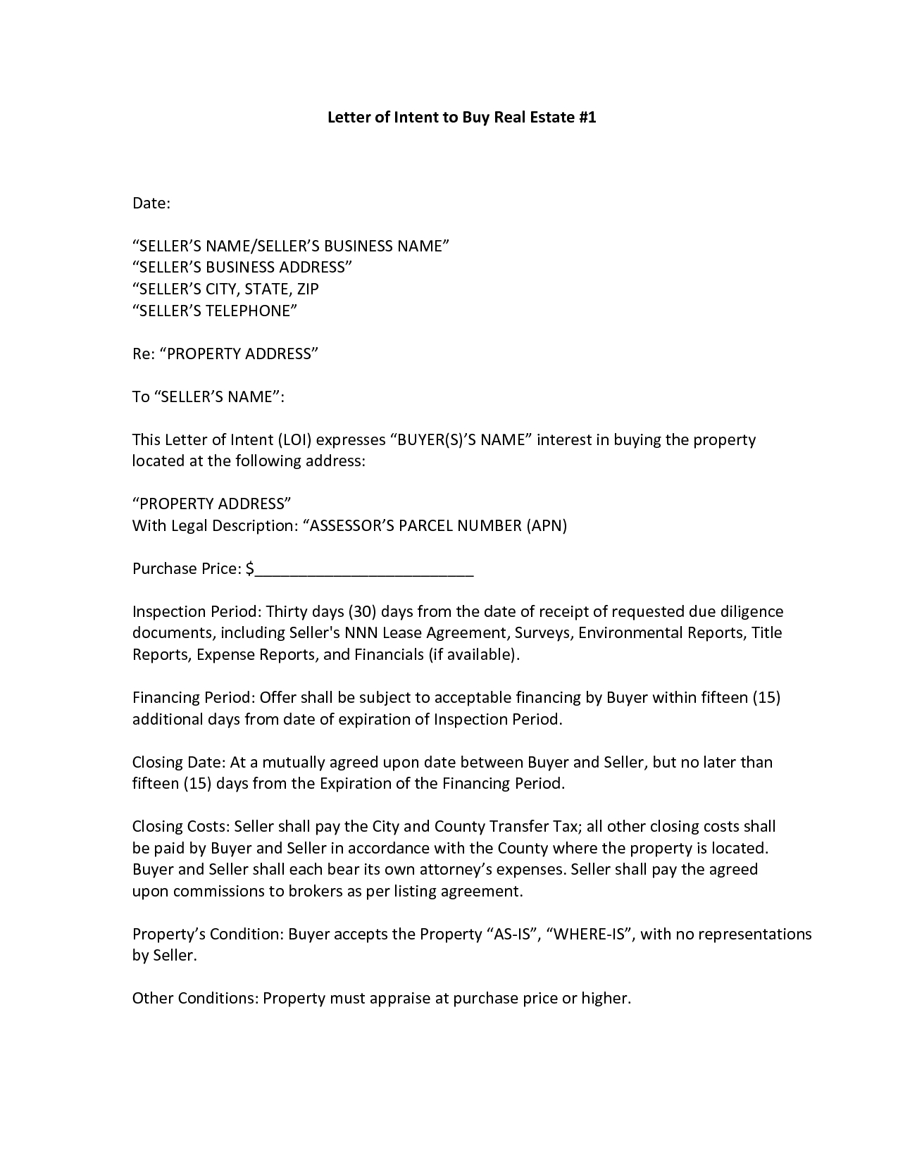 Commercial Real Estate Letter Of Intent Template - Sample Letter Intent Purchase Real Estate New Property Fer
