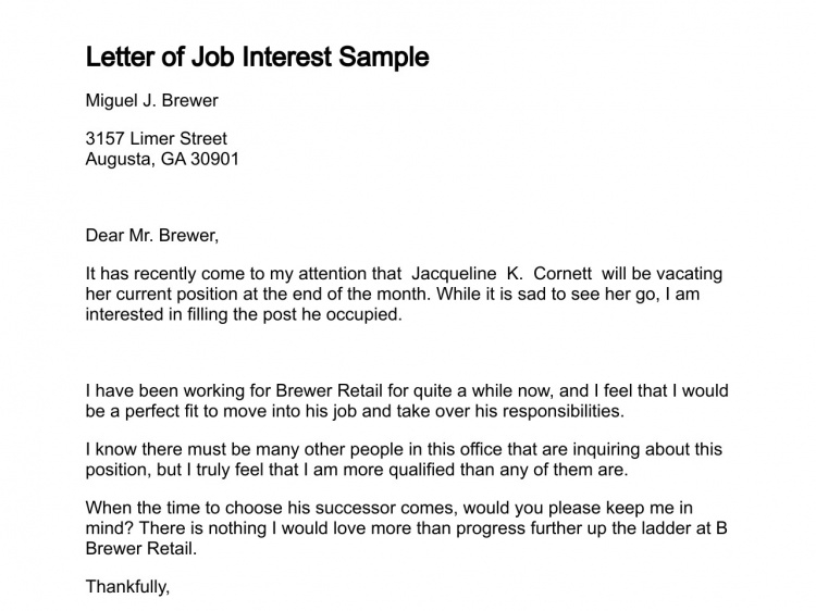 Letter Of Interest for Employment Template - Sample Letter Interest Job Position