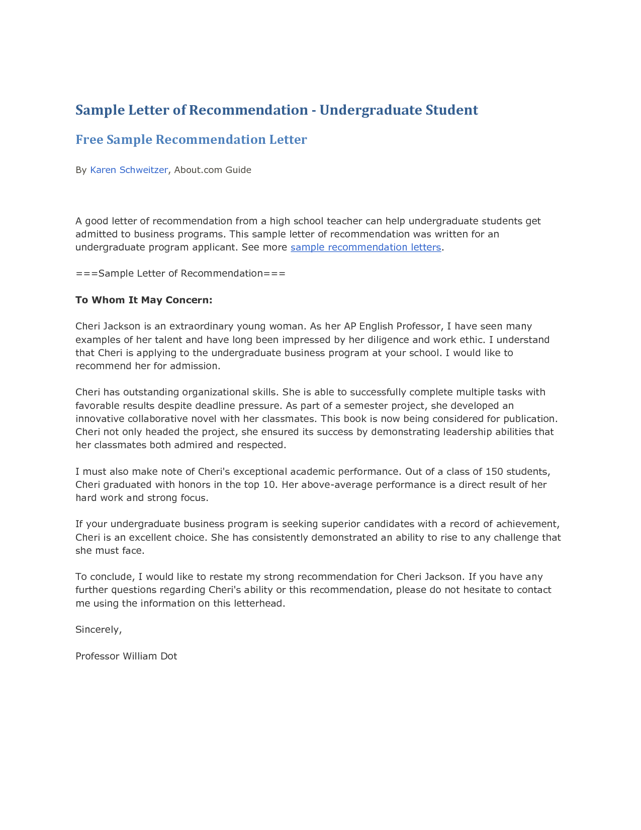 Recommendation Letter For Student From Teacher Template Samples
