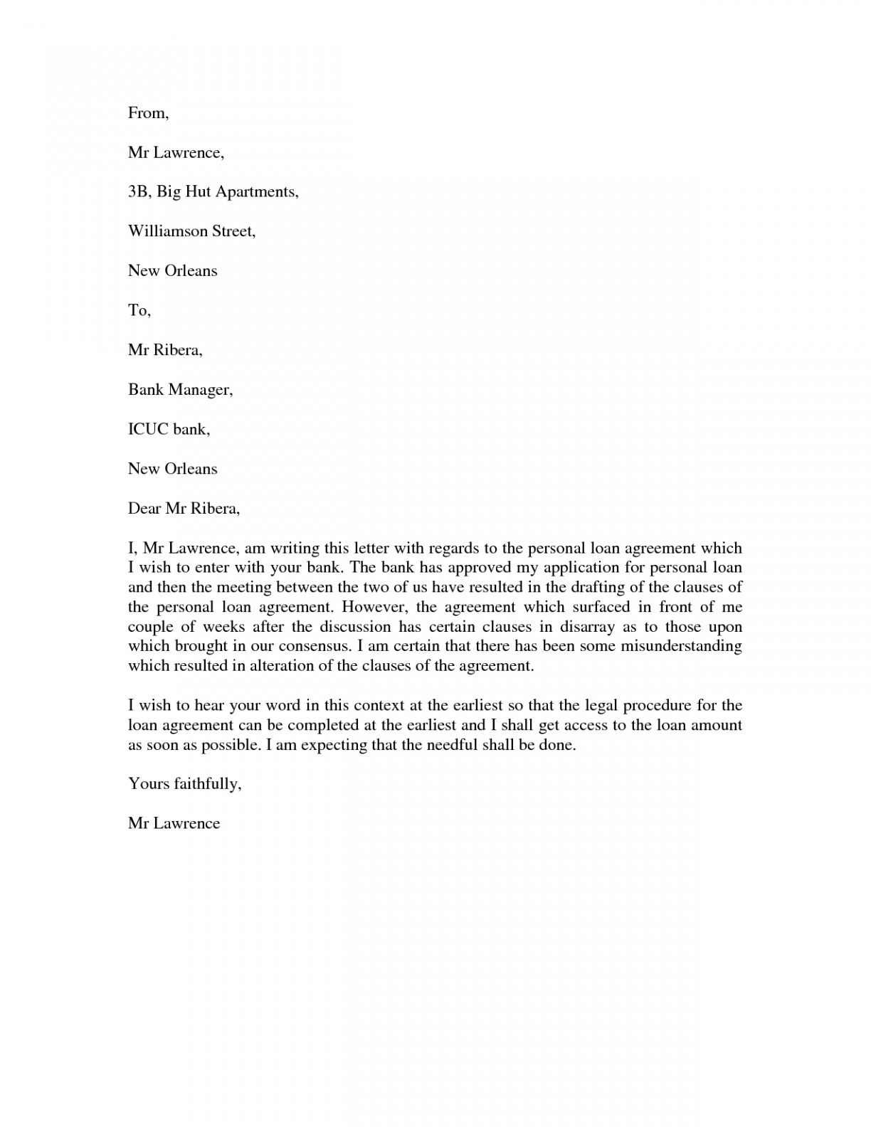 Personal Loan Letter Template - Sample Loan Request Letter format New Letter format Bank New