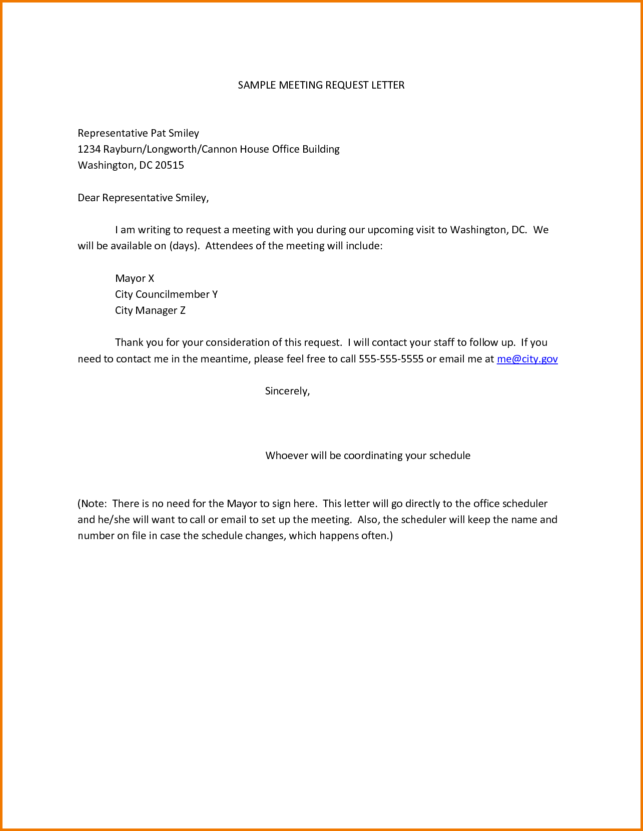 Formal Demand Letter Template - Sample Meeting Request Letter Representative Pat Smiley Rayburn