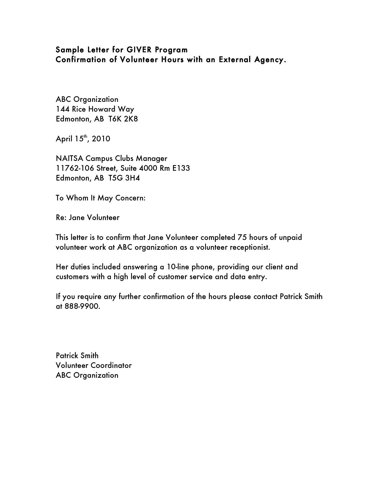 volunteer hours confirmation letter template Collection-Sample Munity Service Hours Letter Sample munity Service Letter Ideas 17-p