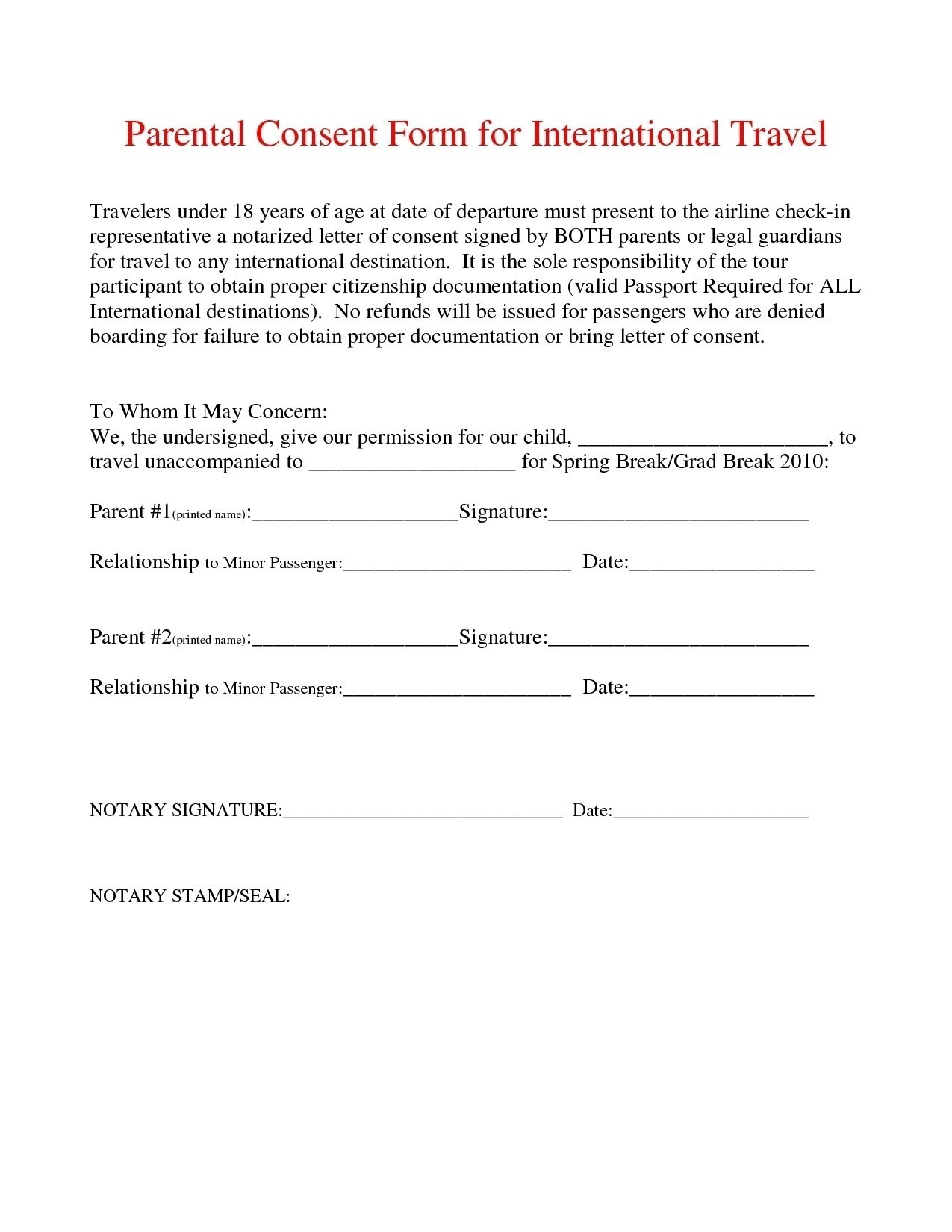 Parent Consent Letter for Travel Template - Sample Permission Letter to Travel Best Notarized Letter