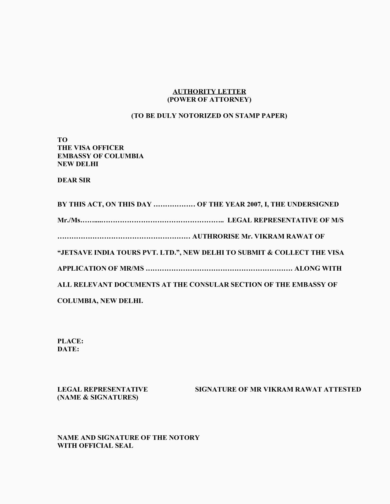 General Power Of attorney Letter Template - Sample Poa Letters Acurnamedia