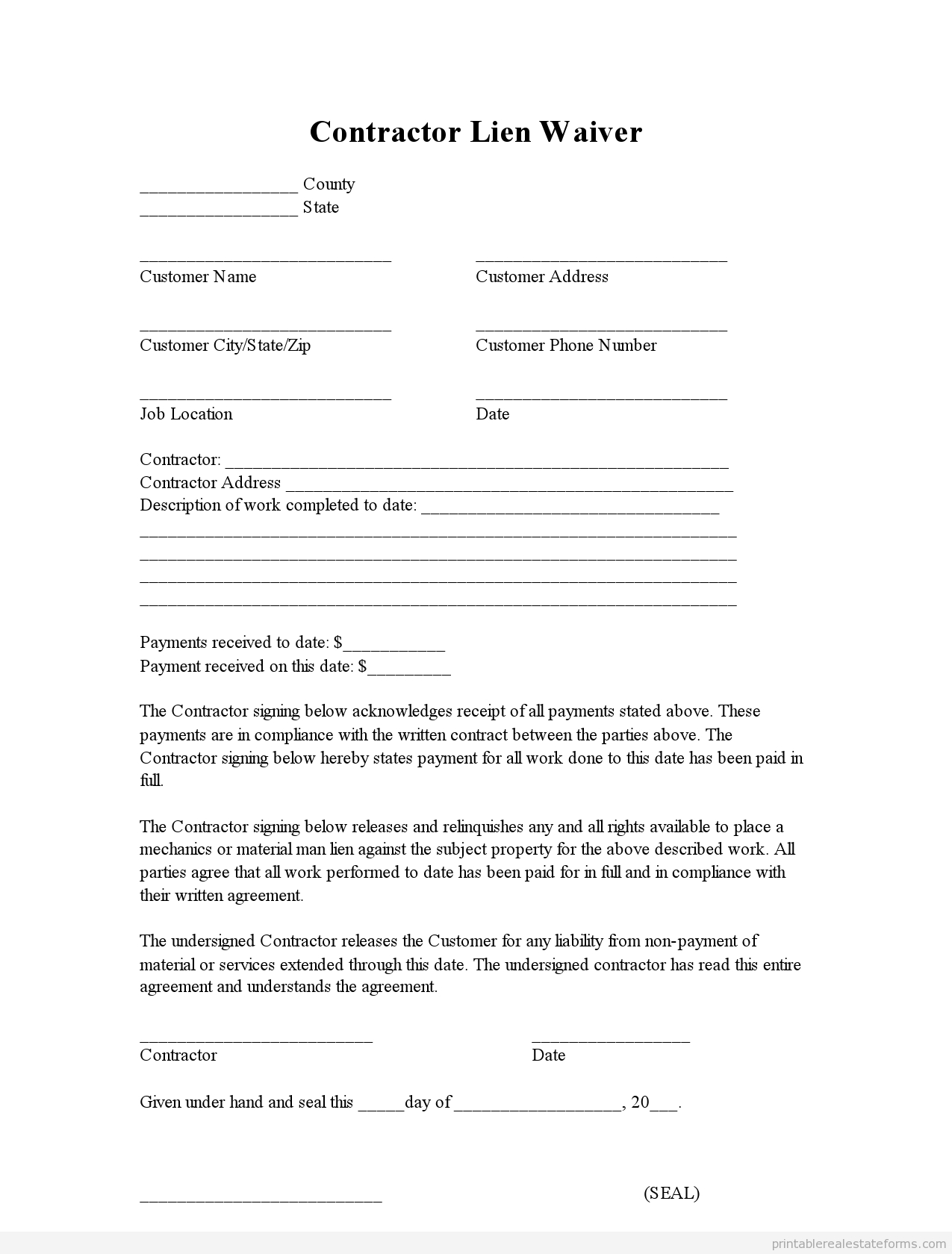 Lien Letter Template - Sample Printable Contractor Lien Waiver form