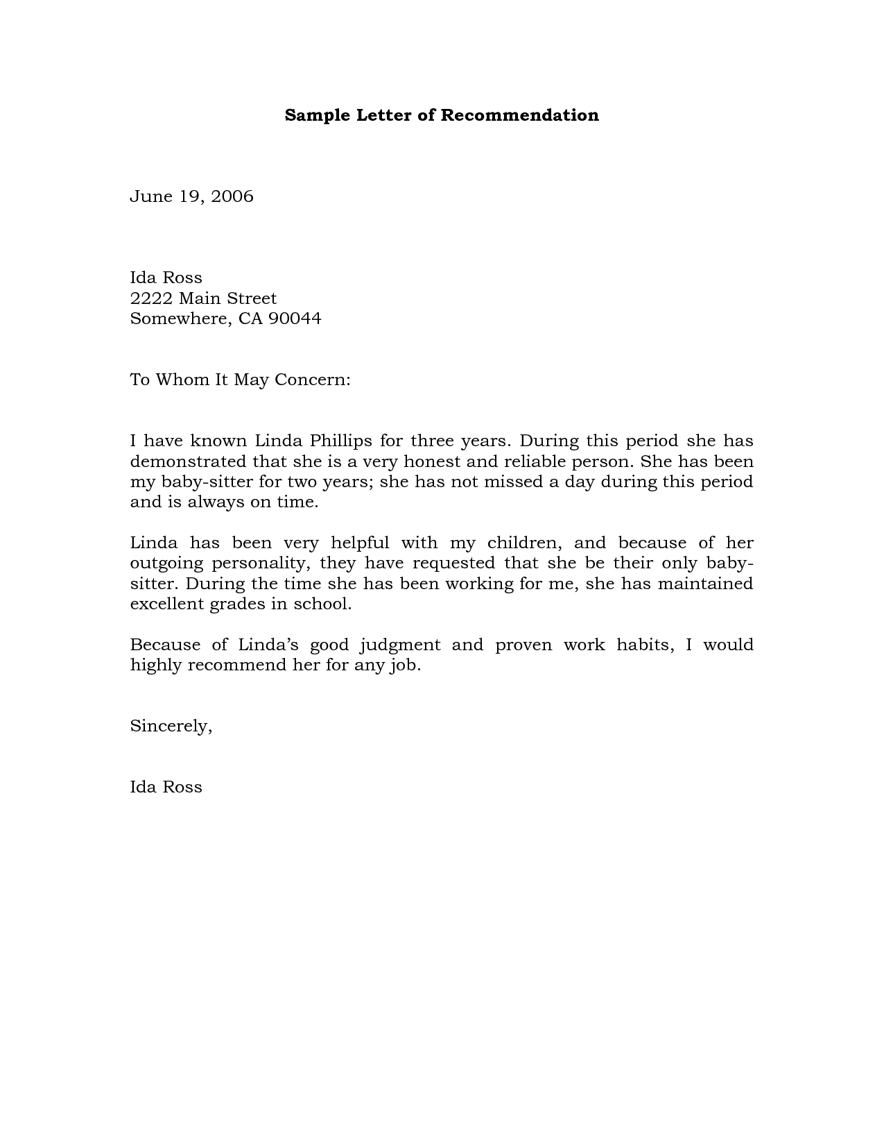 personal recommendation letter for a friend sample
