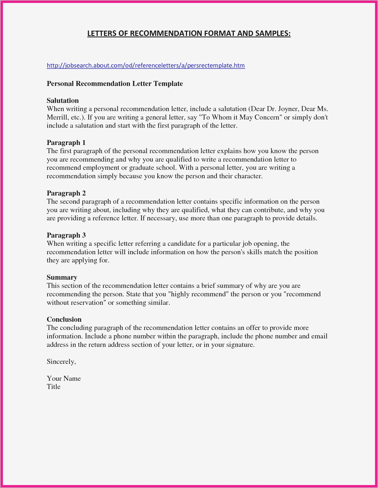 Personal Reference Letter Template - Sample Re Mendation Letter for Job Refrence Personal Reference