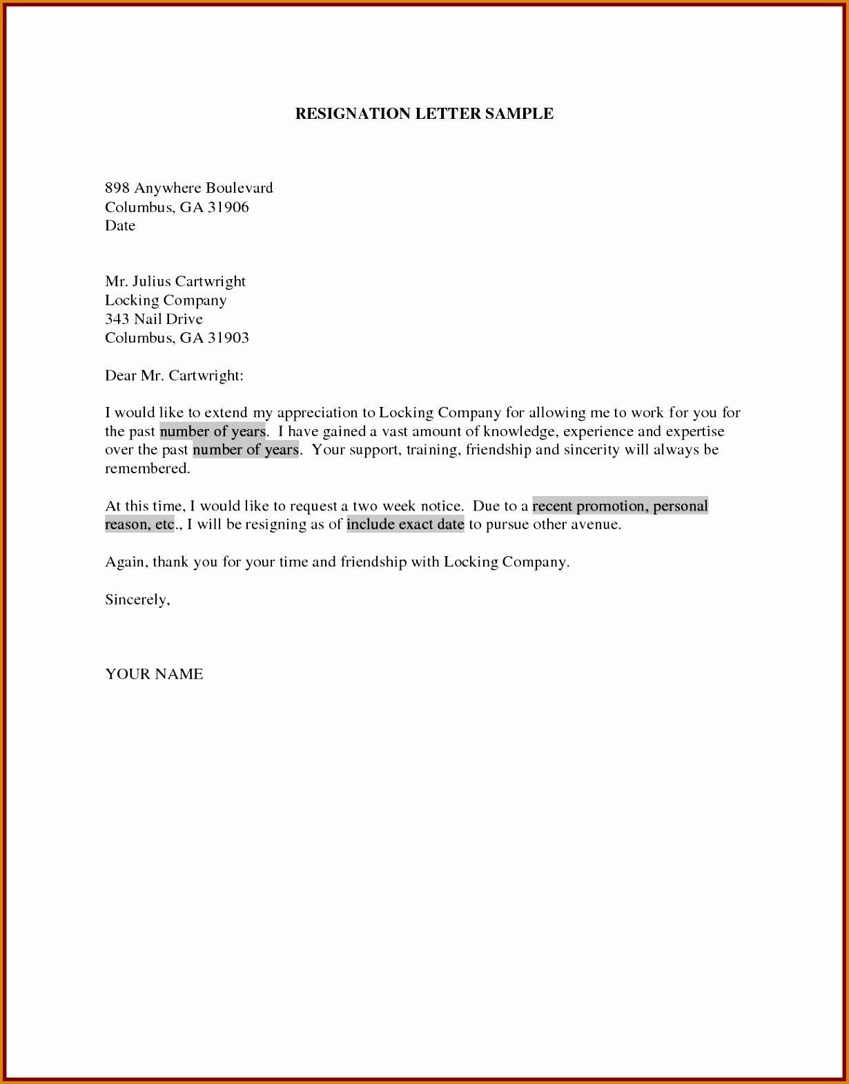 Formal Resignation Letter Template - Sample Resignation Letter Template Doc Copy Samples Resignation