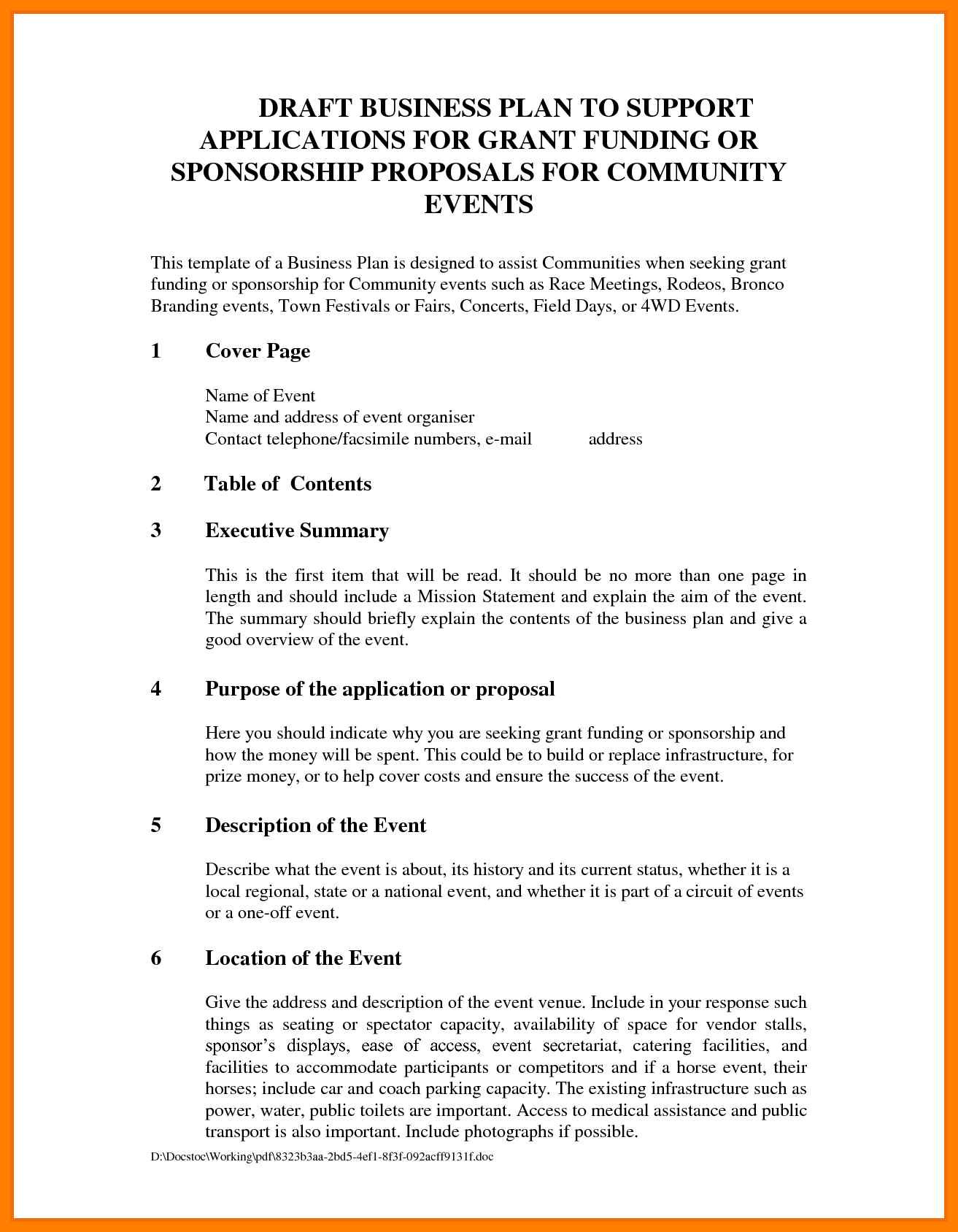 Event Sponsorship Letter Template - Sample Resume event Planning Proposal Template Refrence event