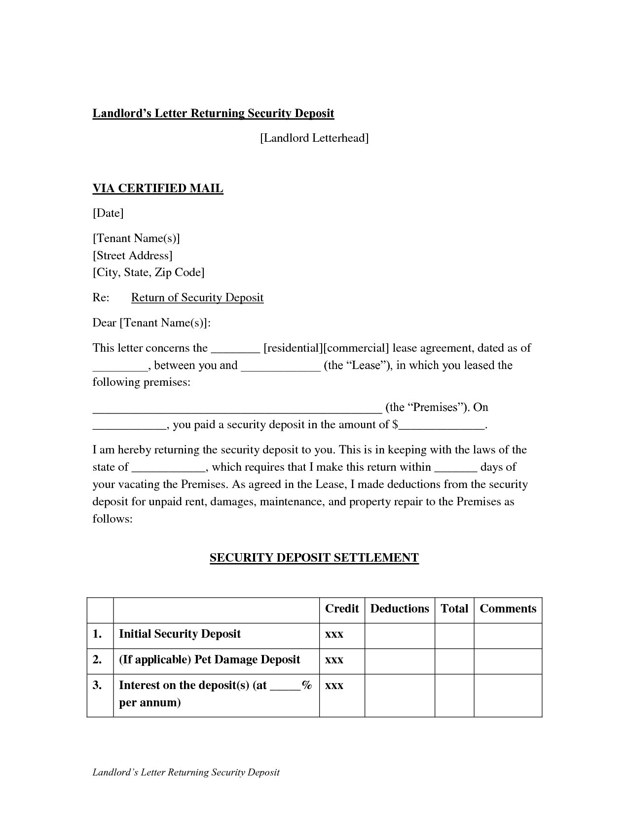Security Deposit Refund Letter Template - Sample Security Deposit Refund Letter