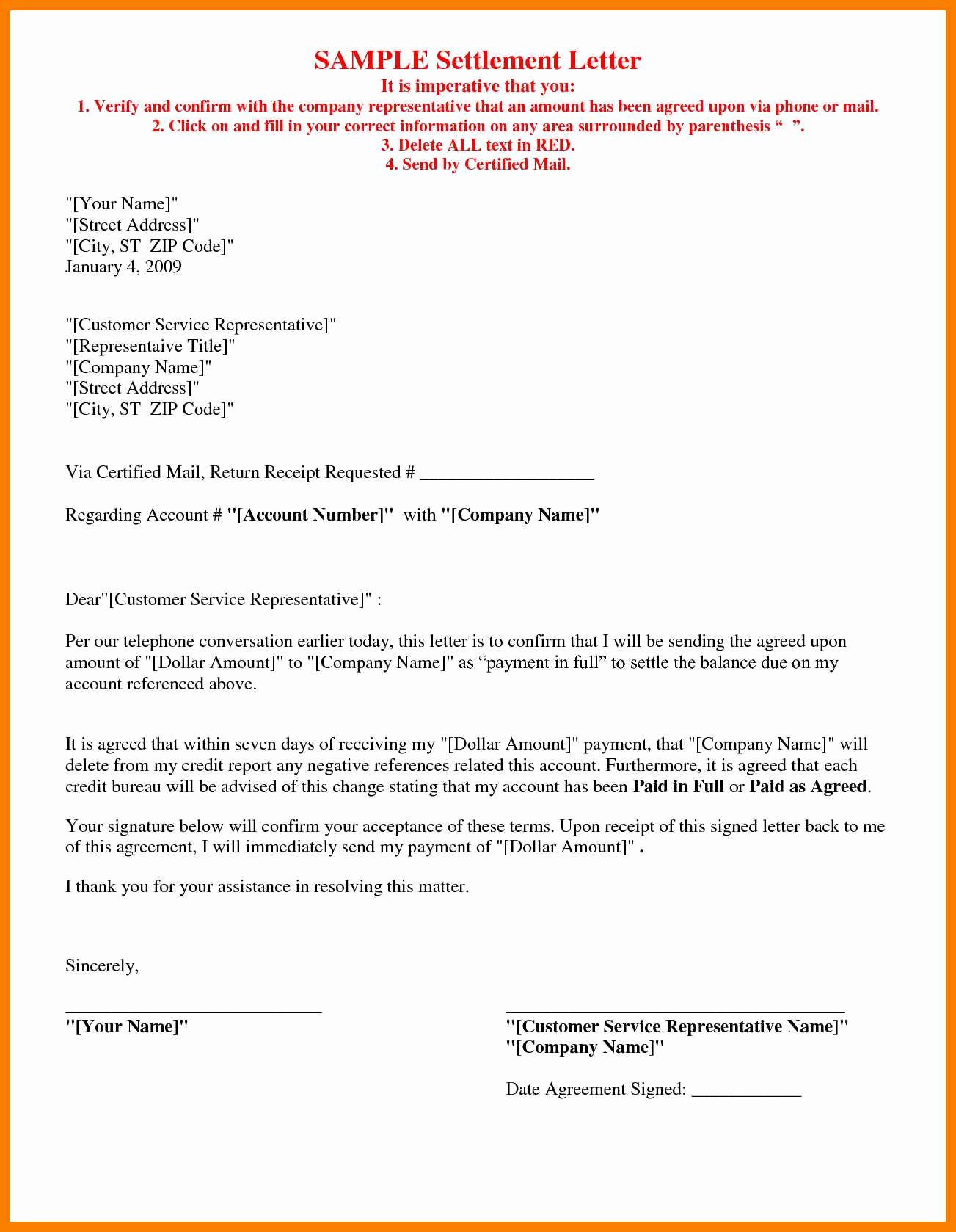 Full and Final Settlement Letter Template Car Accident - Sample Settlement Agreement Letter Beautiful Payment Agreement