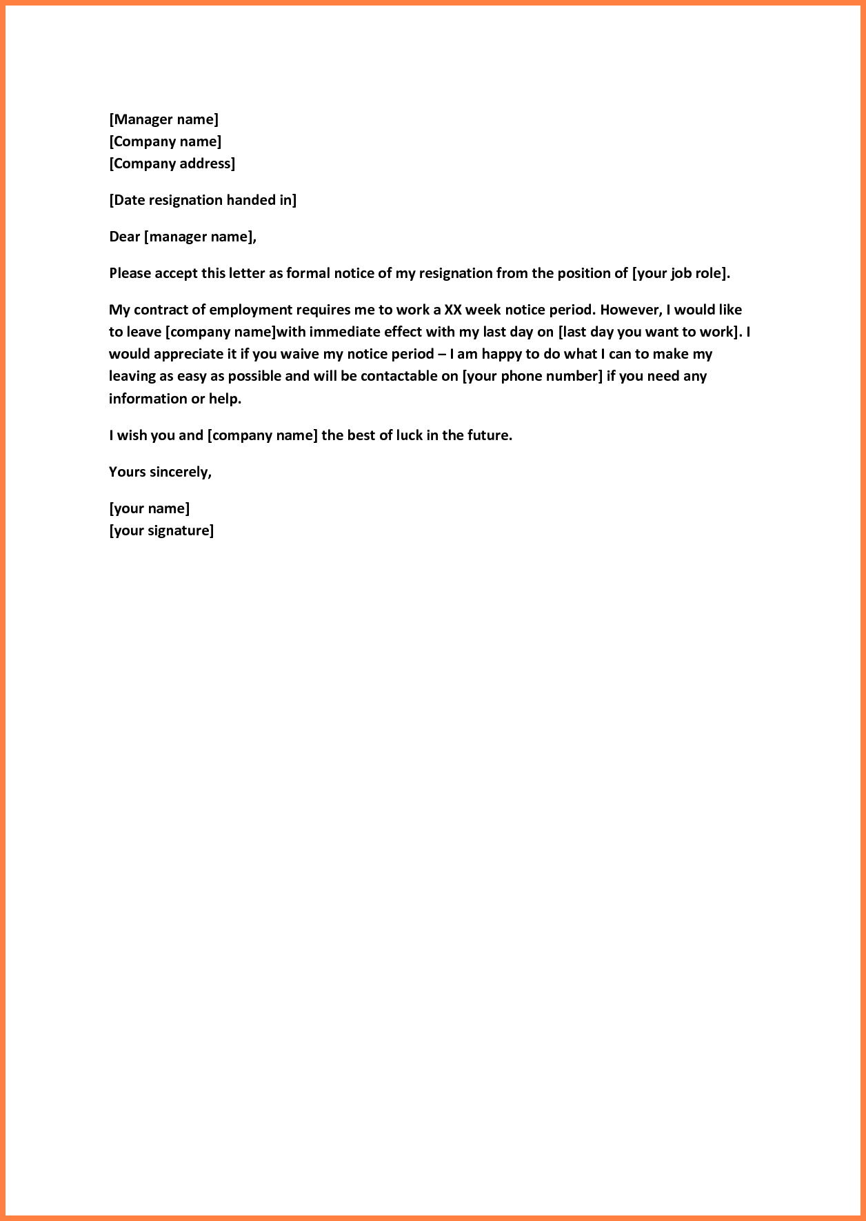 Quick Resignation Letter Template