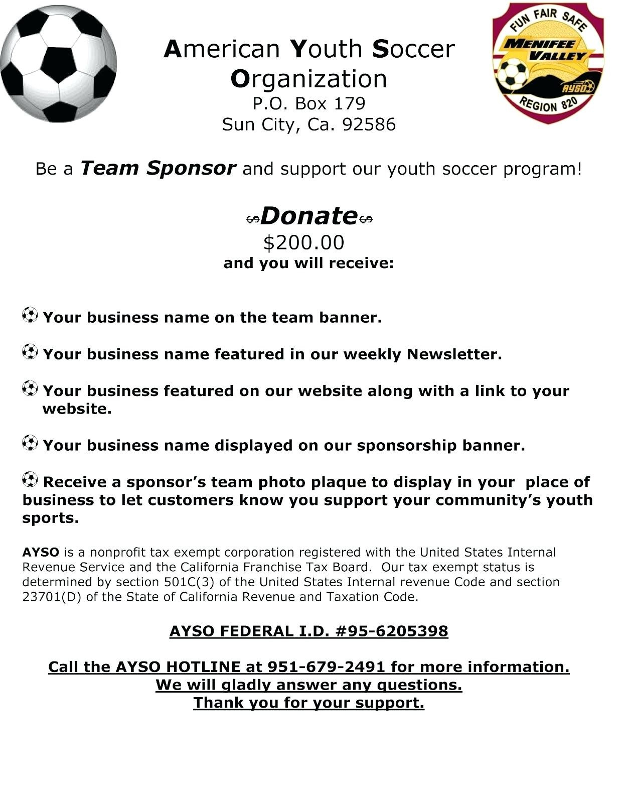 Youth Football Sponsorship Letter Template - Sample Team Sponsorship Letter Refrence Template soccer Certificate