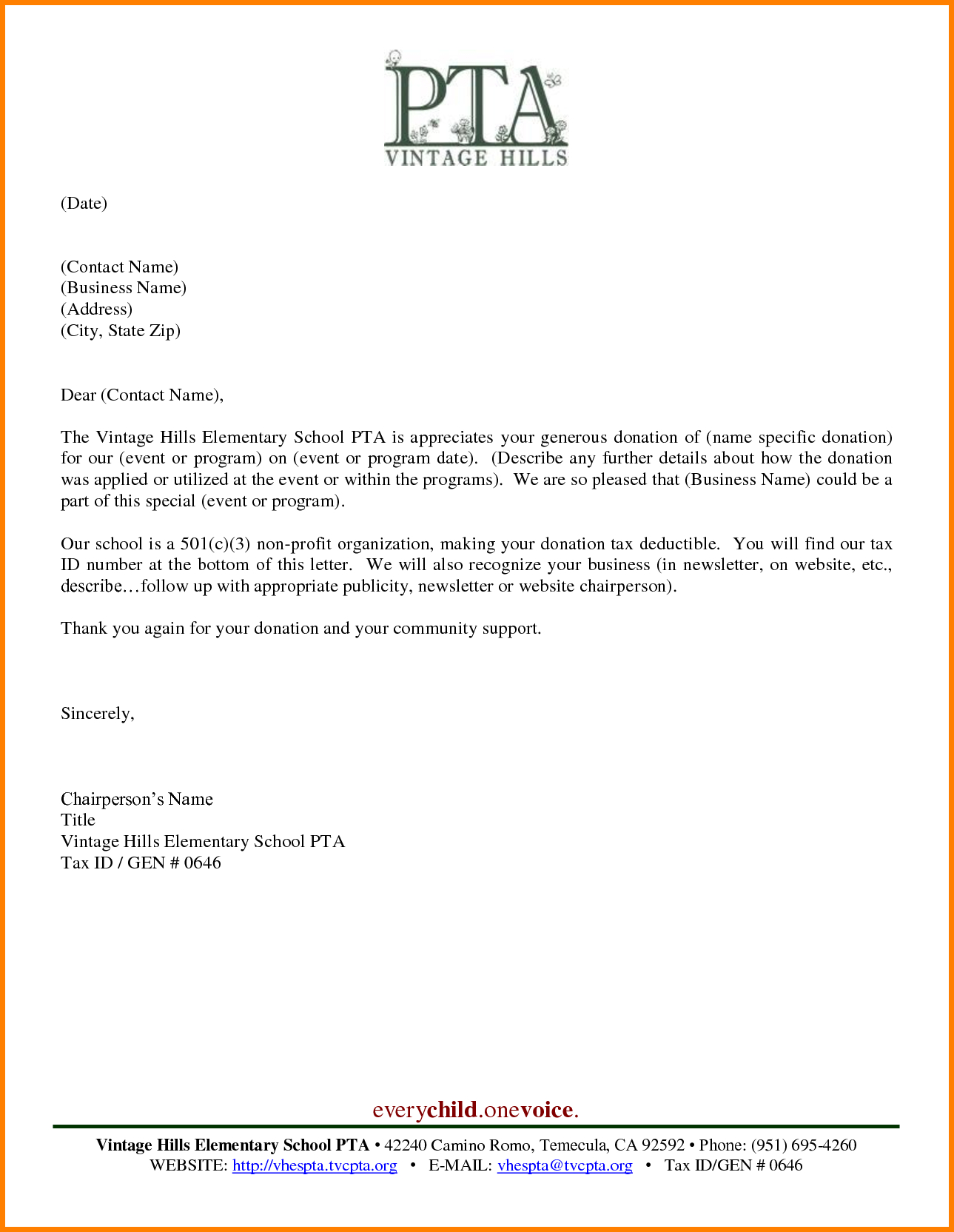 Pta Fundraising Letter Template - Sample Thank You Letter for Donation Scholarship Letters Samples