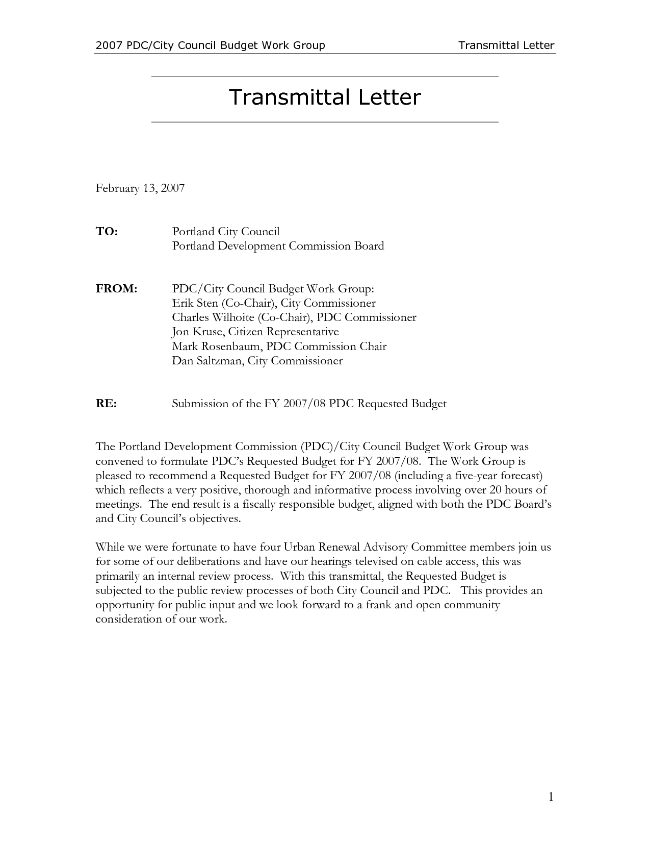 Letter Of Transmittal Template Construction - Sample thesisl Pdf Letter Transmittal Template Example