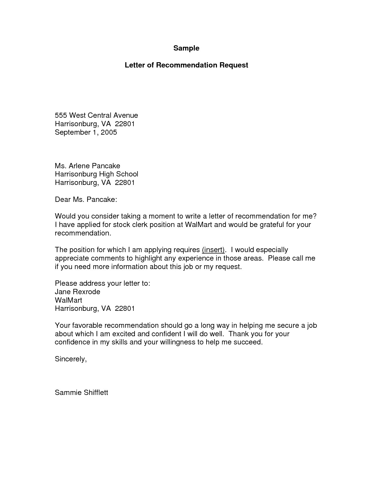 Letter Of Recommendation Request Template - Samples Letters Re Mendation for A Job Refrence Gallery