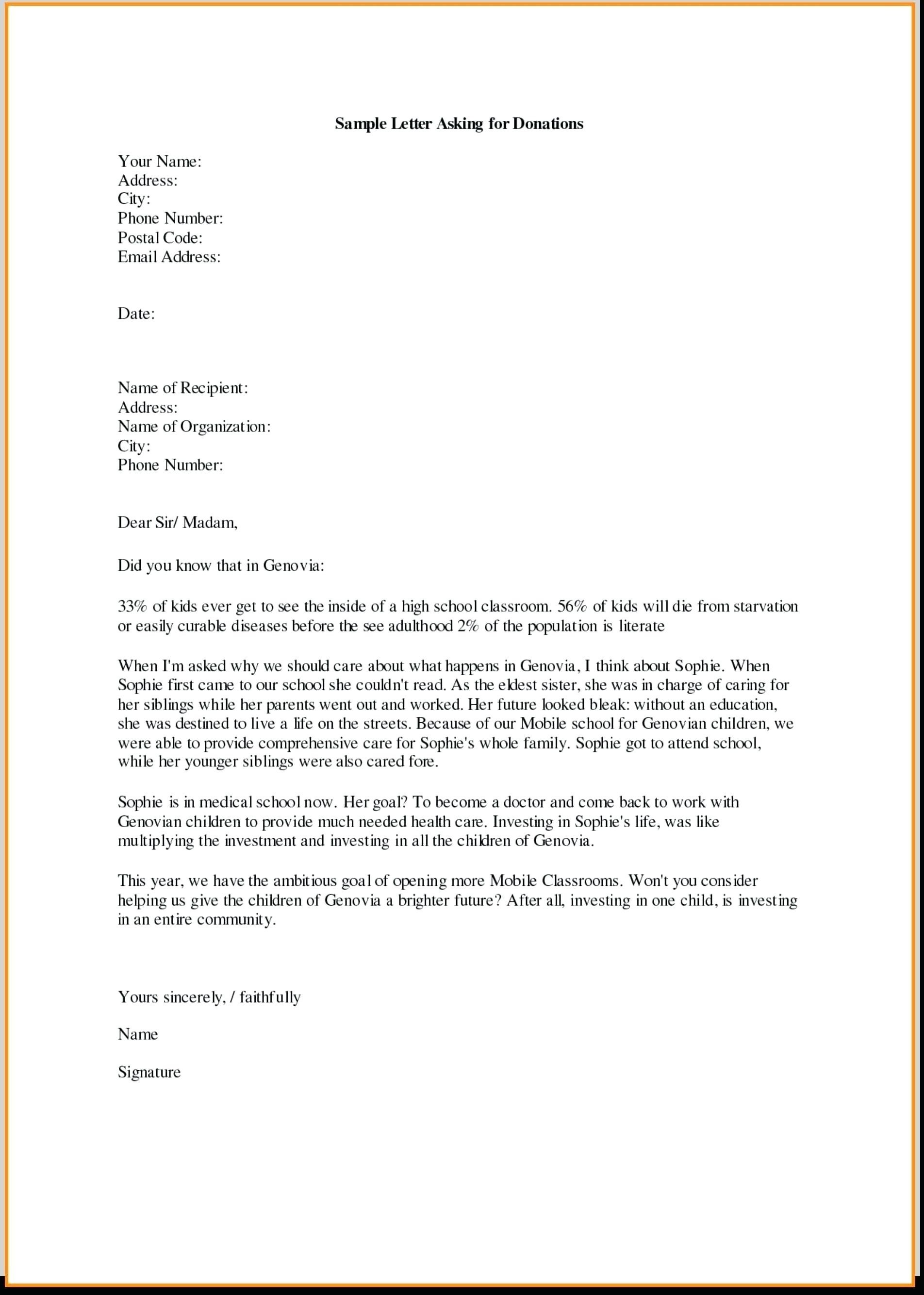 Template Letter Requesting Donations for Fundraiser - Samples Letters Request Donation Best Samples Letters Request