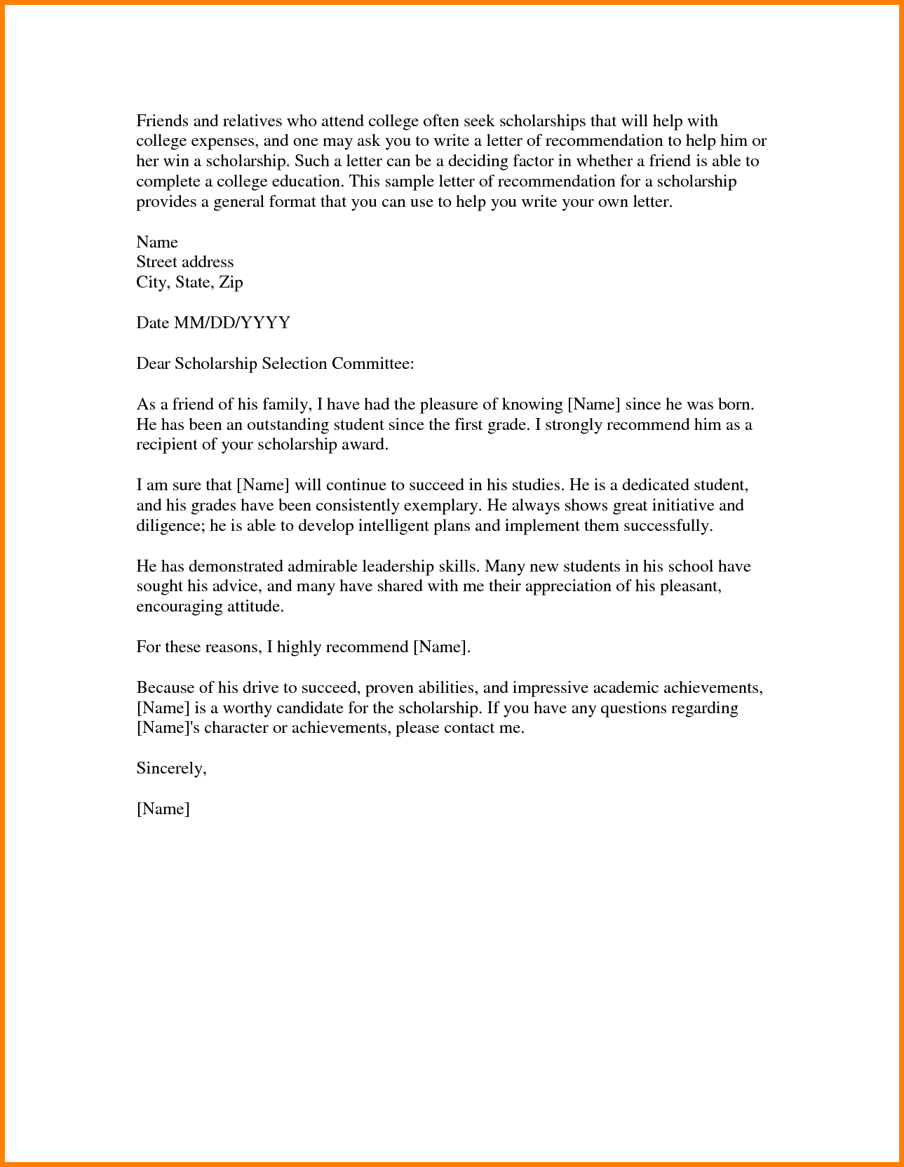 Scholarship reference letter template examples letter templates scholarship reference letter template scholarship reference letter format gallery letter format formal thecheapjerseys Gallery
