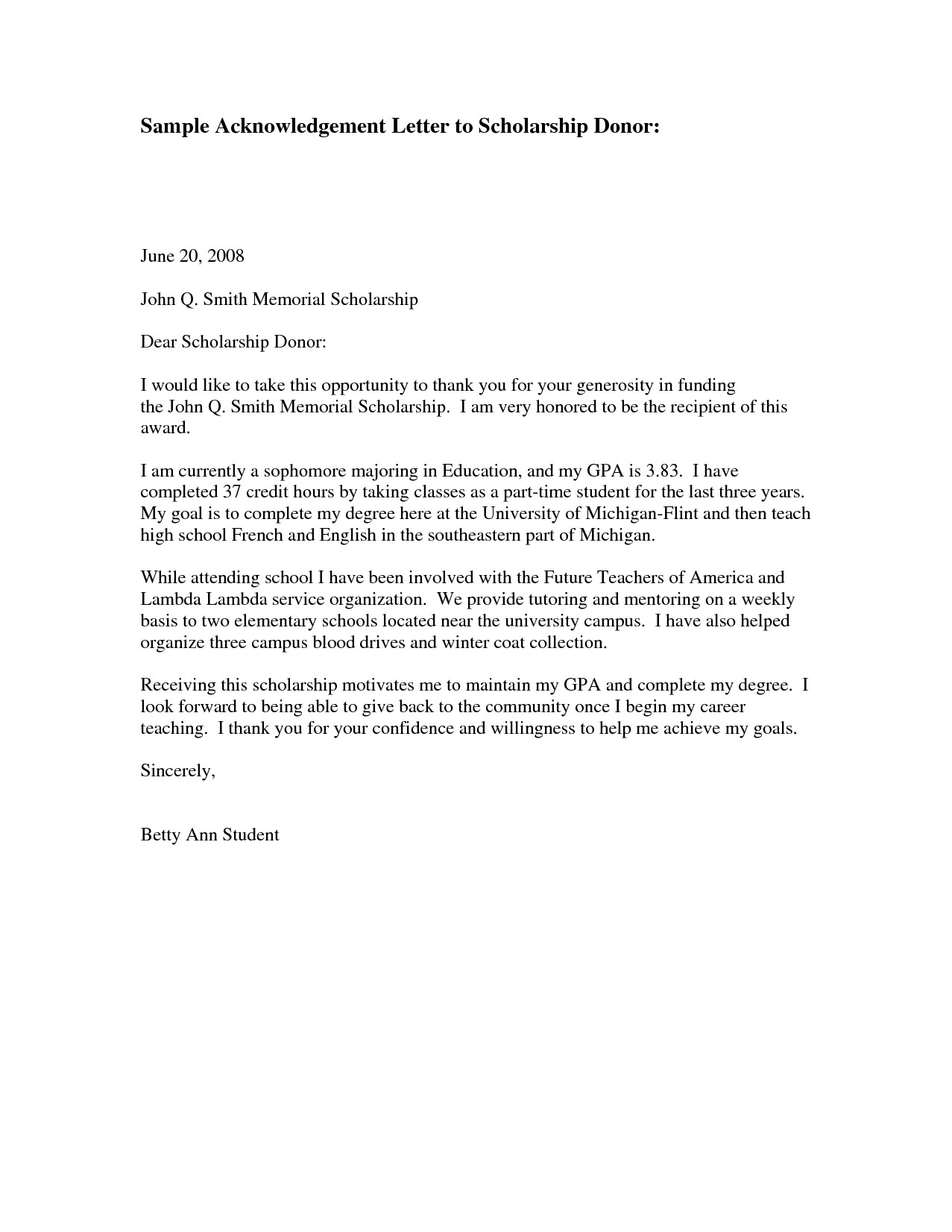 Donor Thank You Letter Template - Scholarship Thank You Letter Sample Http Jobsearch About Od