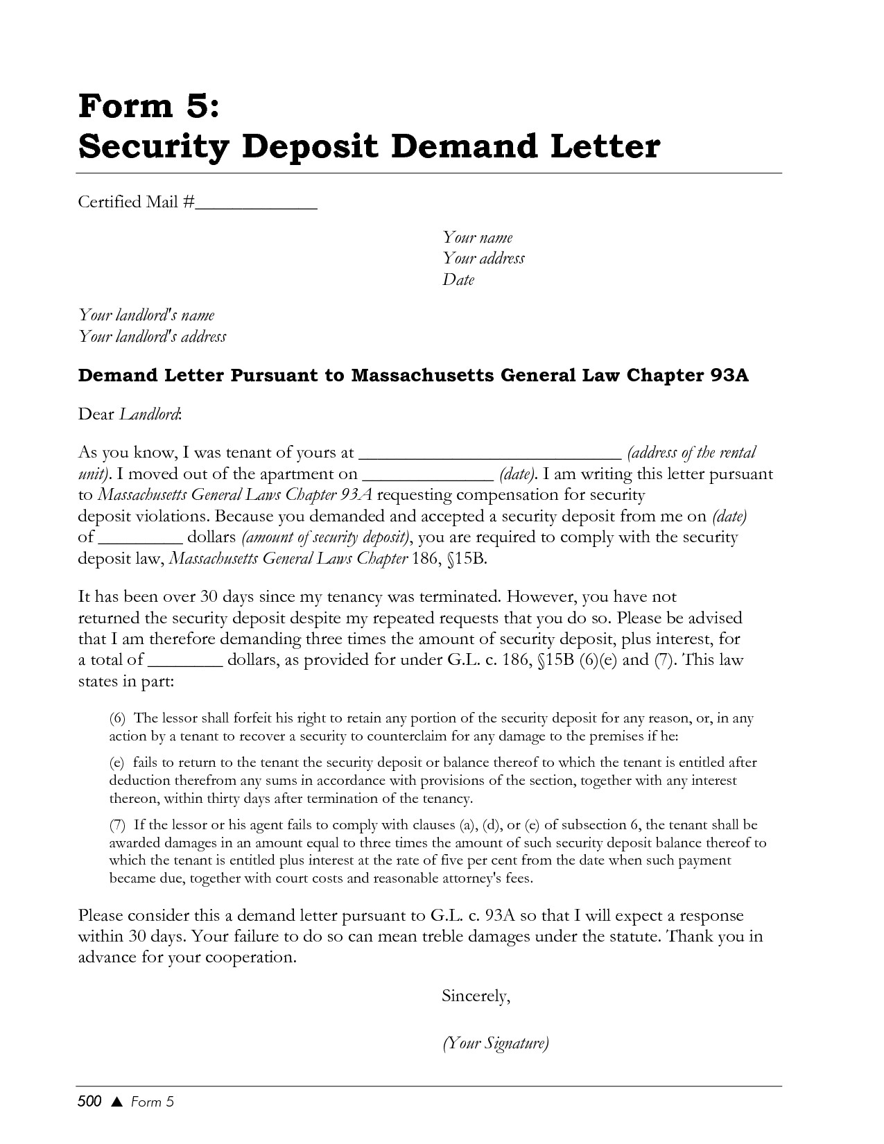 Security Deposit Demand Letter Template Florida - Security Deposit Agreement form What is the Security Deposit that