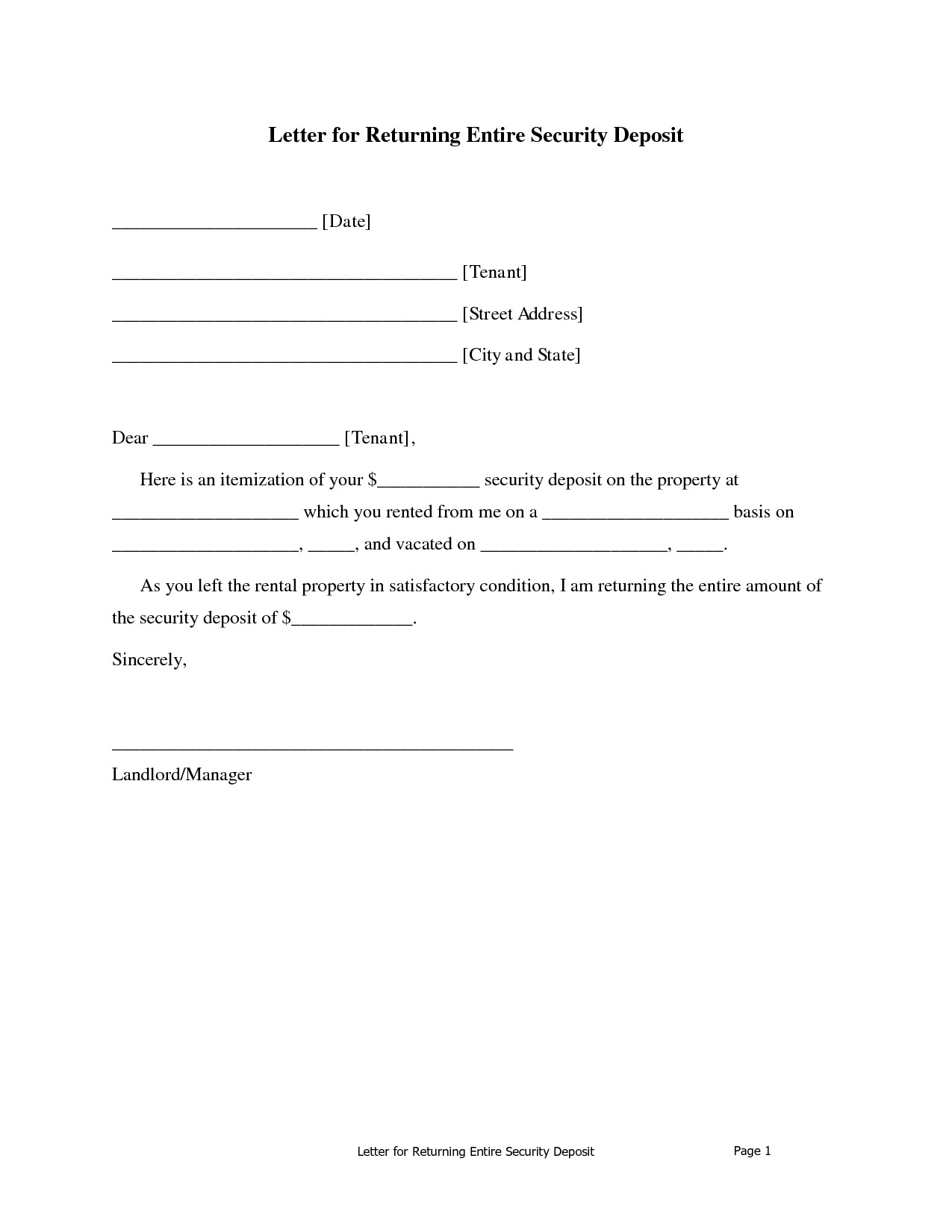 Security Deposit Refund Letter Template - Security Deposit Return Letter Sample Landlord Refund Absolute with