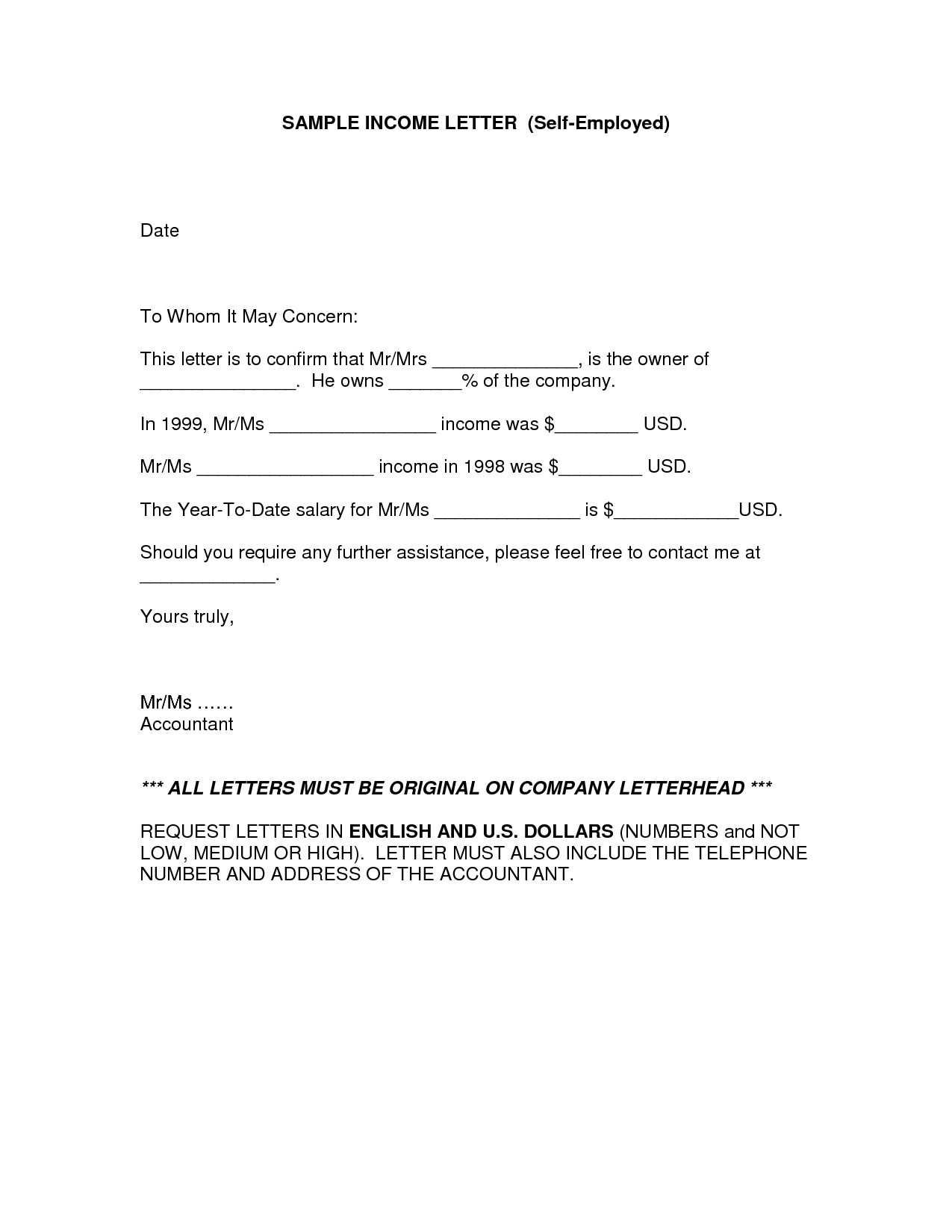 Cpa Letter for Self Employed Template - Self Employed Job Letter Sample Valid Job Letter for Self Employed