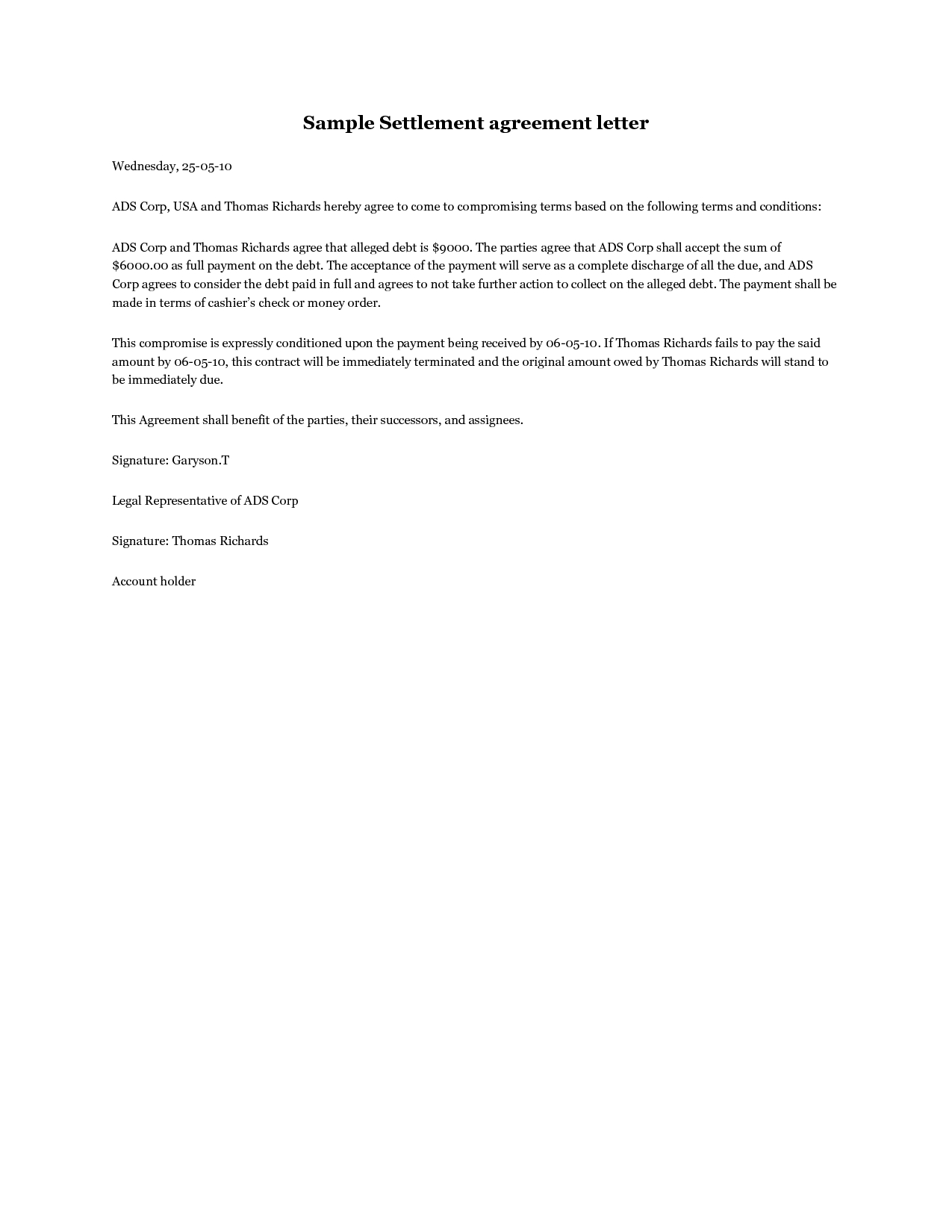 Credit Card Settlement Letter Template - Settlement Agreement Letter A Debt Settlement Agreement Letter