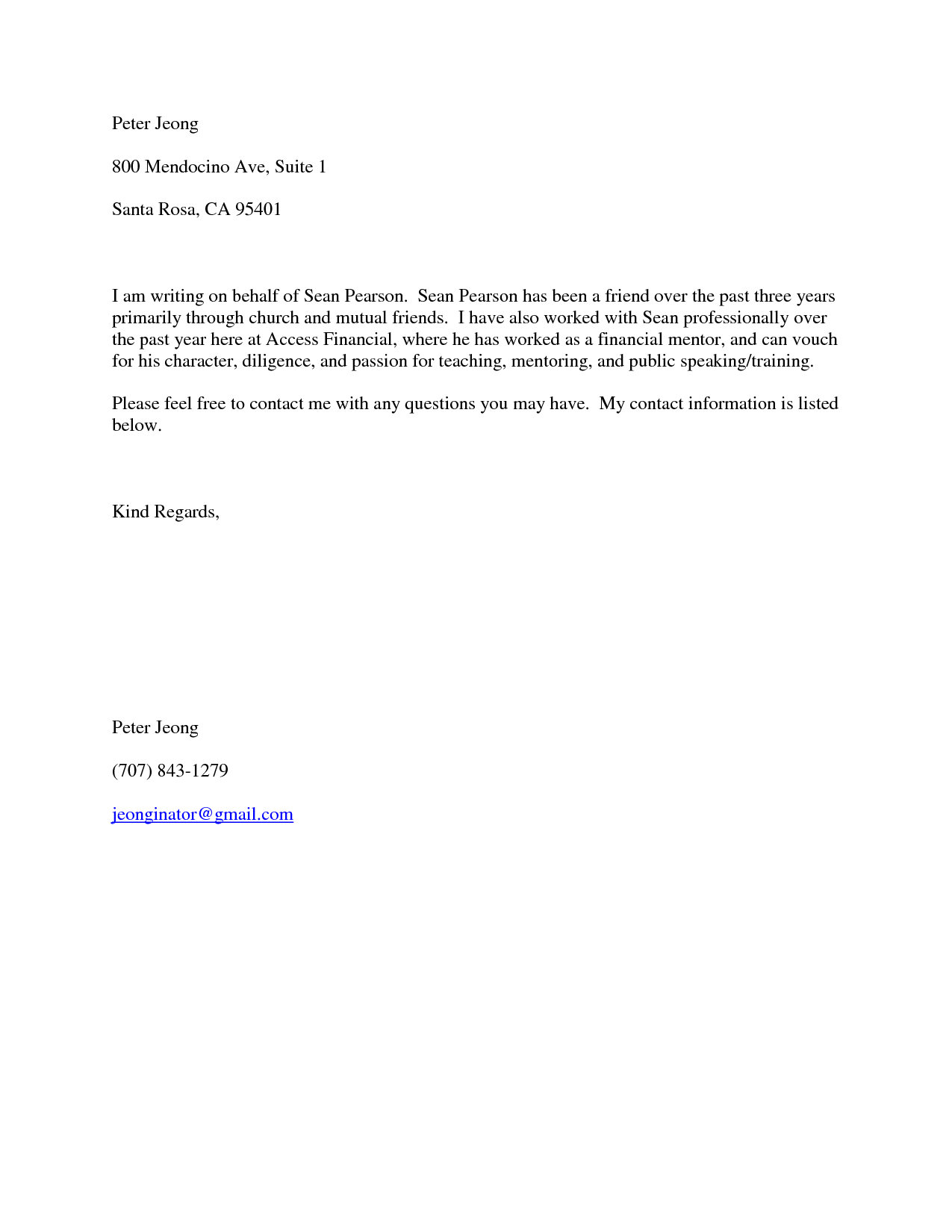 Sample Character Reference Letter For A Friend Template Samples