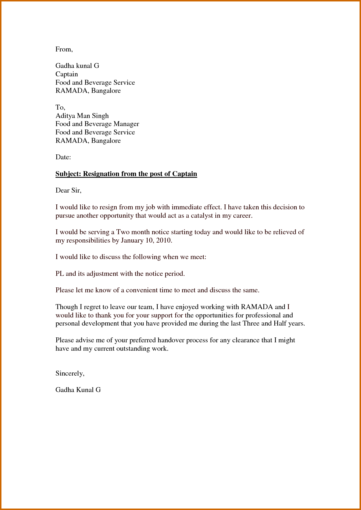 Immediate Resignation Letter Template - Simple Resignation Letters Samples Inspirational Letter Sample