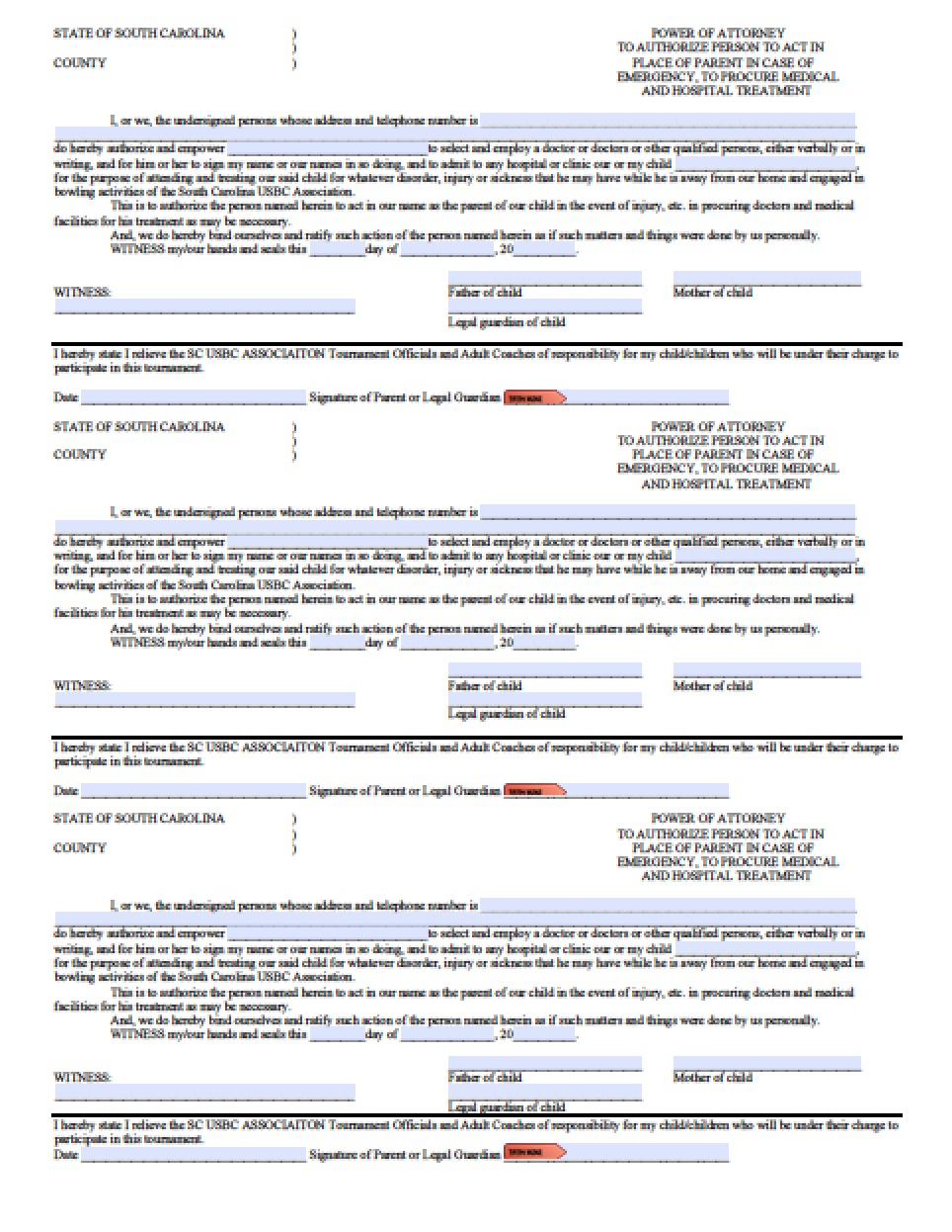 Power Of attorney Letter Template Free - south Carolina Minor Child Power Of attorney form Power Of