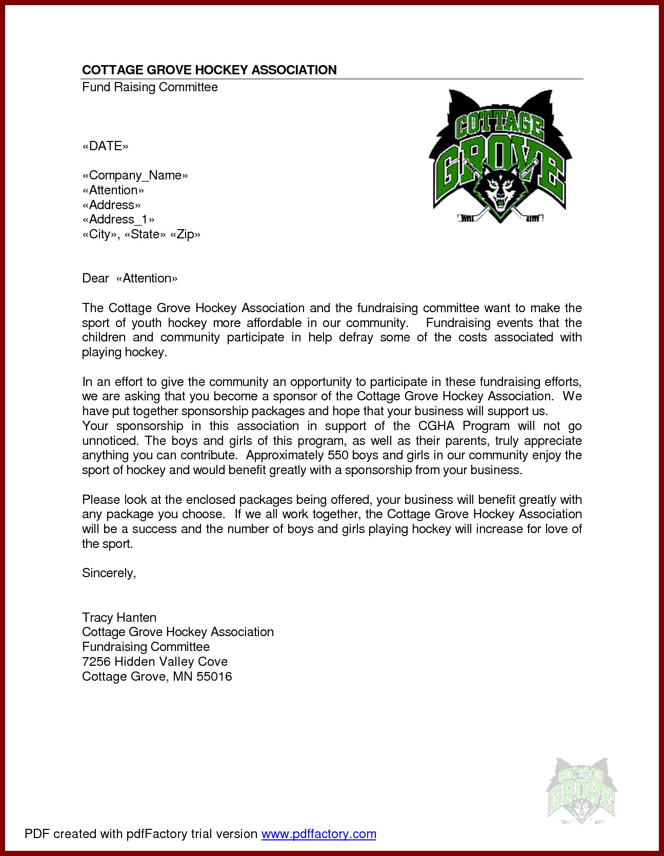 Fundraising Letter Template For Sports Teams Examples Letter Templates