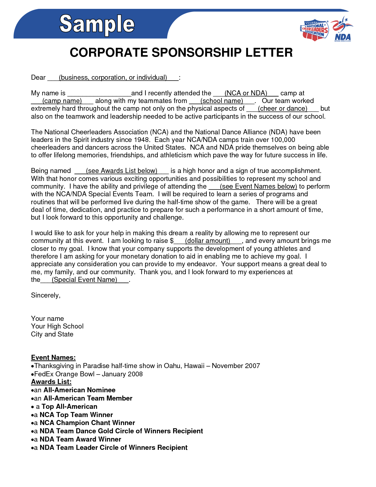 Personal Fundraising Letter Template - Sponsorship form Template