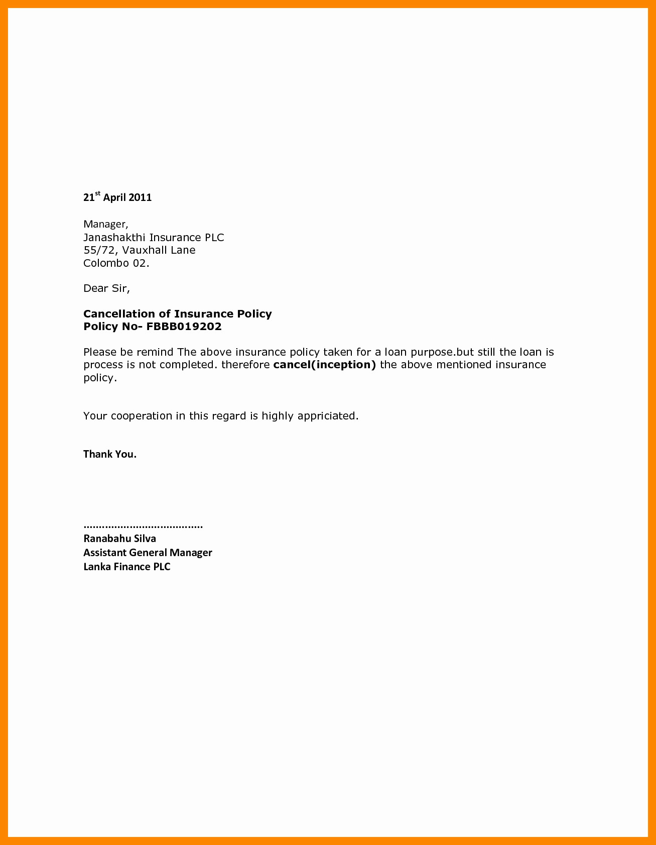 Insurance Cancellation Letter Template - State Farm Cancellation Letter Singular Progressive Insurance