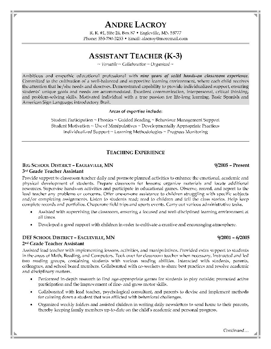 cover letter template for teachers aide example-Teacher Assistant Resume Sample 14-b