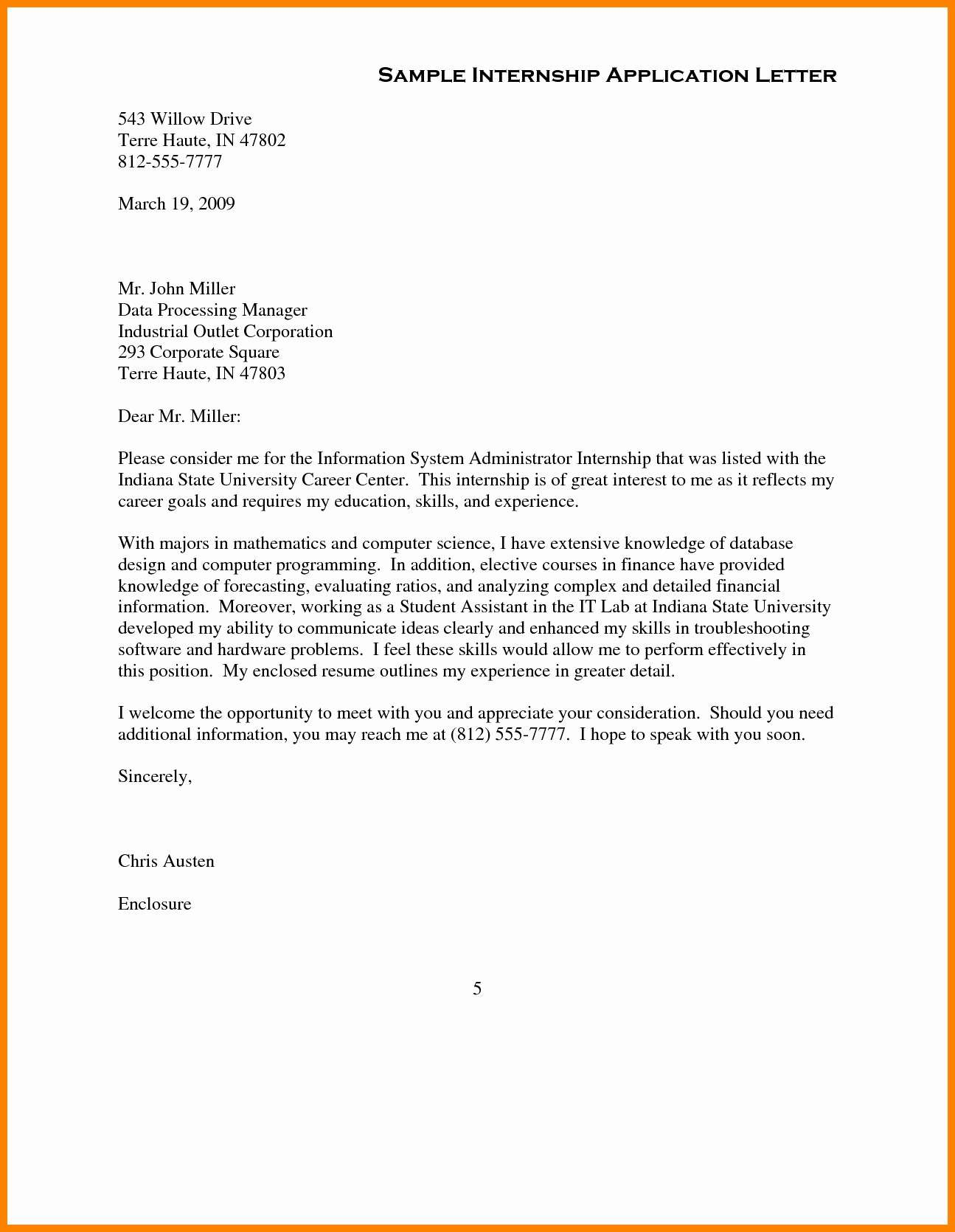 Internship Cover Letter Template - Template Cover Letter New Cover Letter Examples for Internship