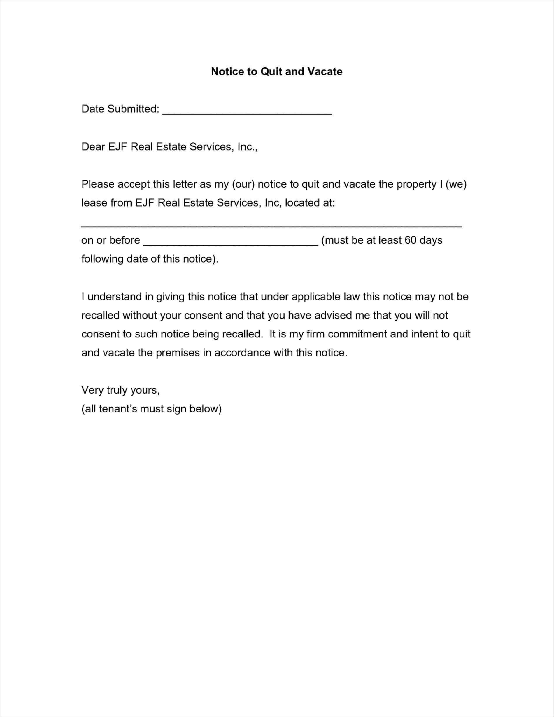 30 Day Eviction Letter Template - Template for 60 Day Notice to Vacate