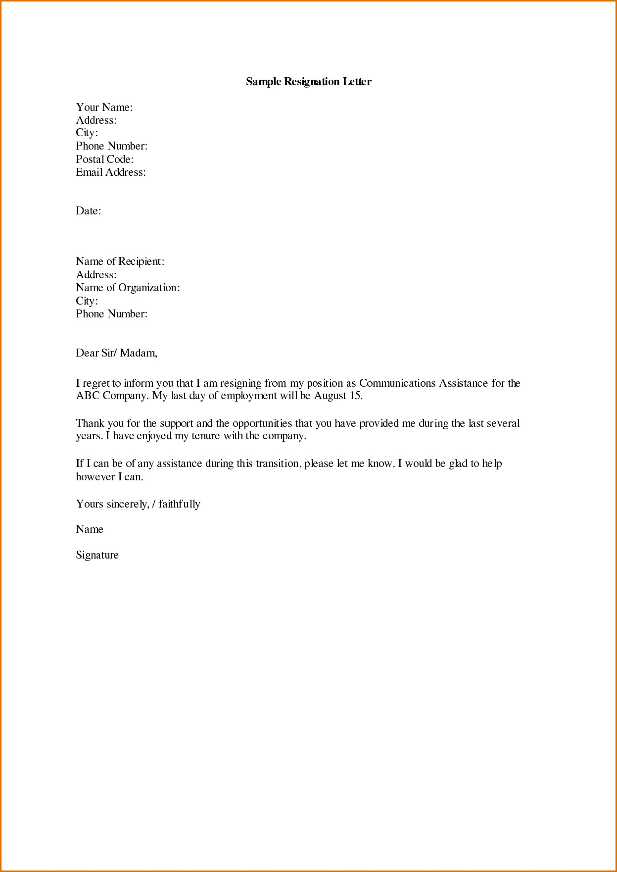 Apartment Offer Letter Template - Template for Not Accepting Job Fer Letter Fresh Resignation Letter