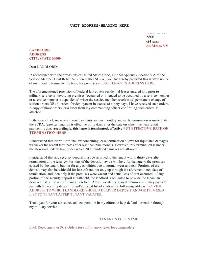 Early Lease Termination Letter to Landlord Template - Template Landlord Termination Lease Letter Template