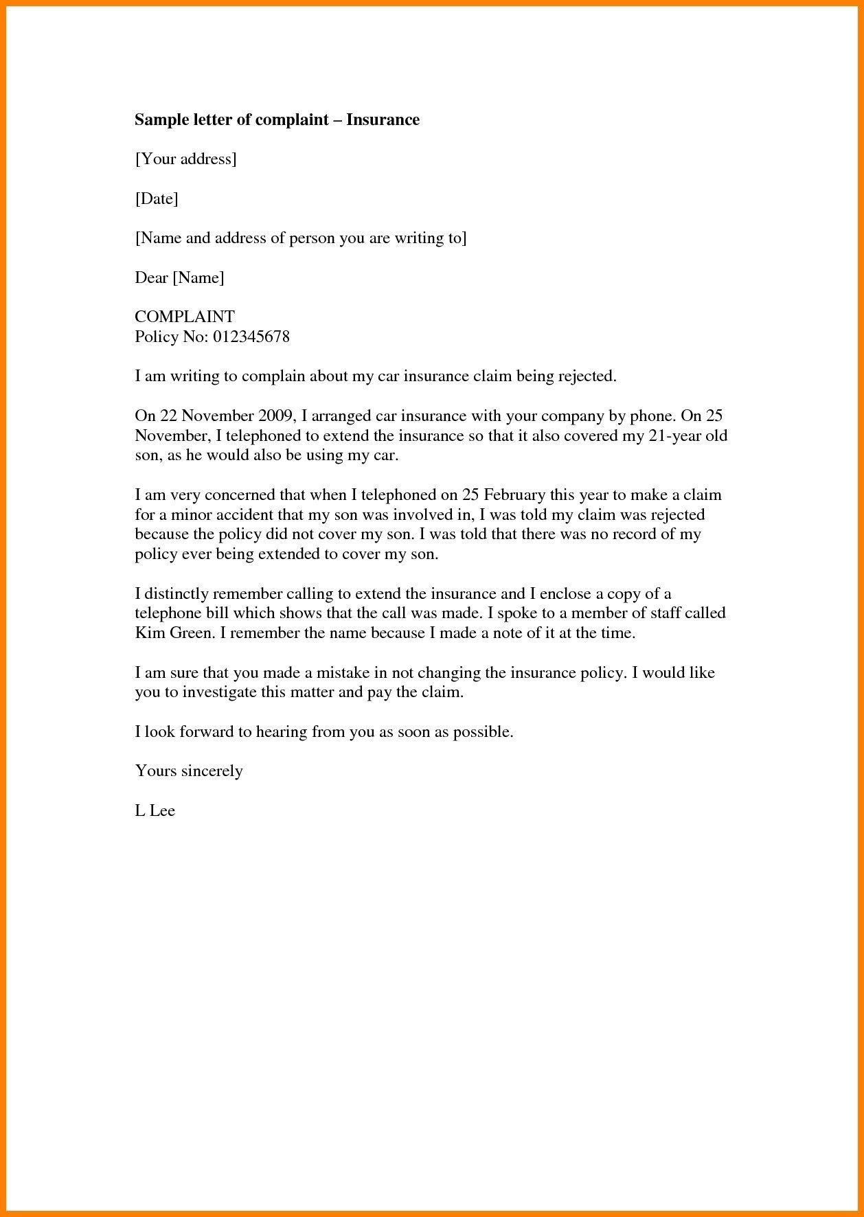 Insurance Demand Letter Template - Template Letter for Rejected Ppi Claim New Car Insurance Cover