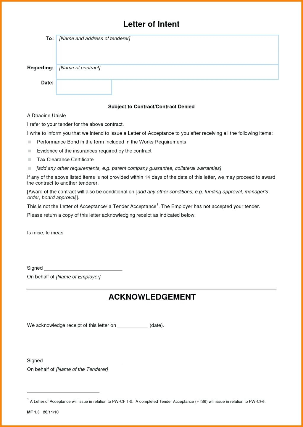 Construction Letter Of Intent Template - Template Letter Intent Construction Contract form Case