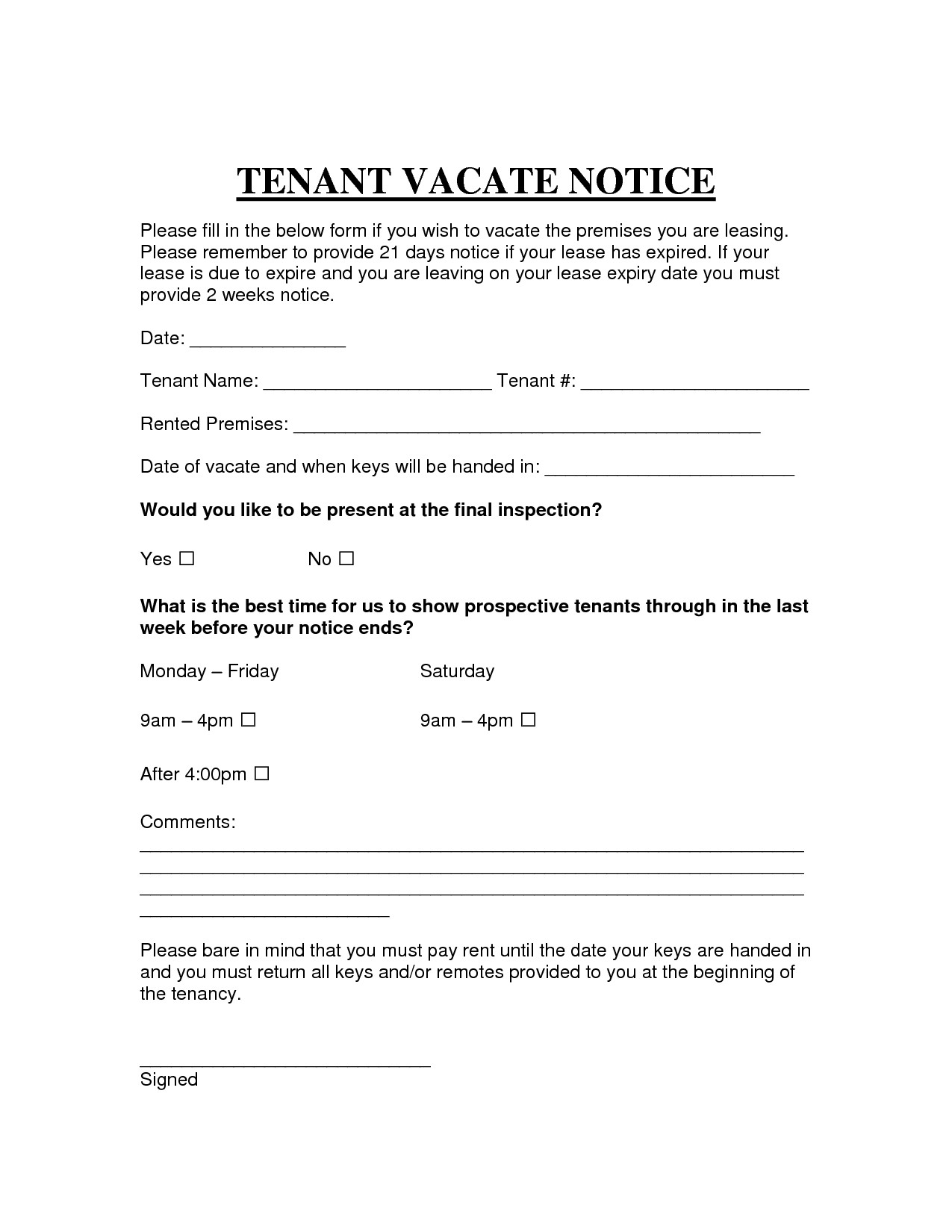 30 Day Notice to Vacate Letter to Tenant Template - Template Letter to Leave Property New Printable Sample Vacate Notice