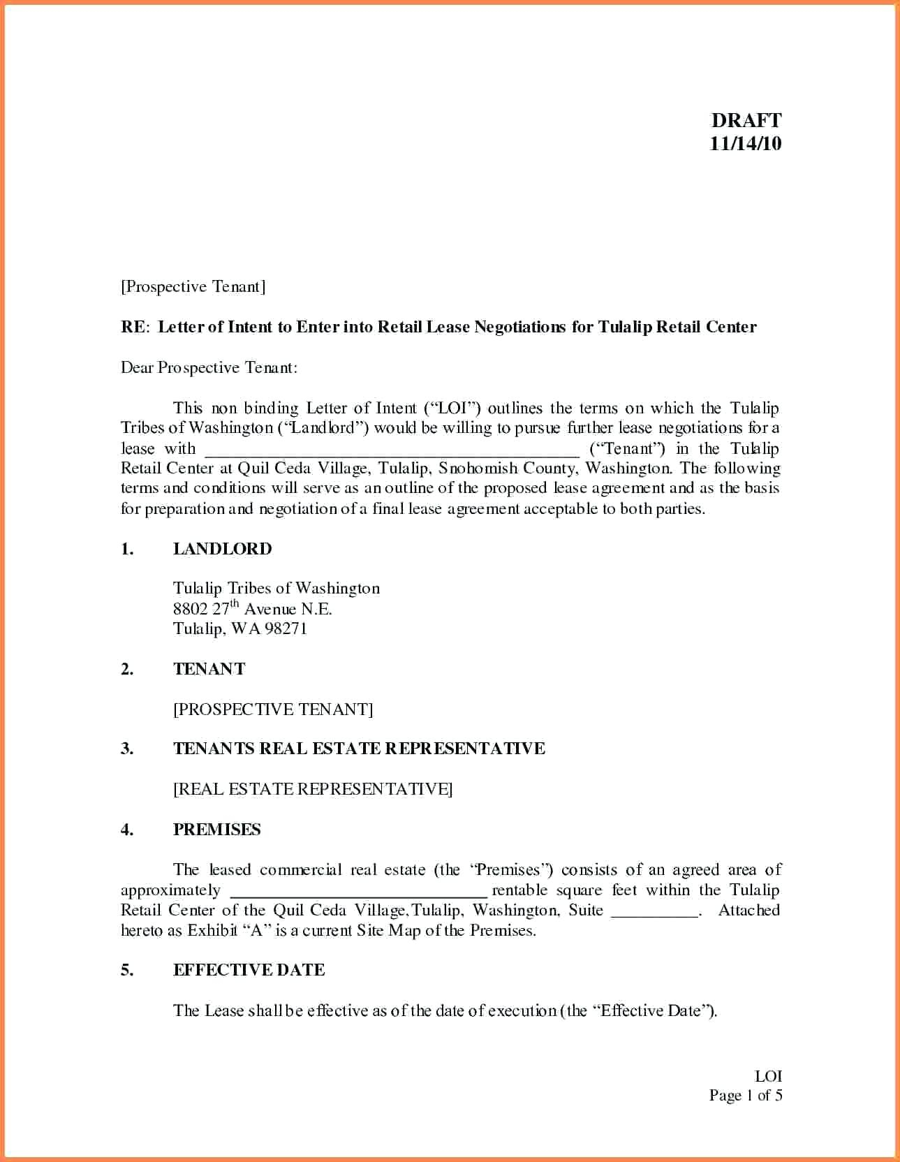 Real Estate Letter Of Intent Template - Templatemercial Real Estate Letter Intent to Lease for Space