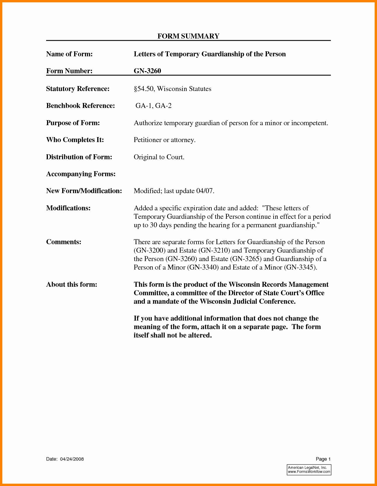Temporary Custody Letter Template - Temporary Guardianship form for Grandparents Beautiful Temporary