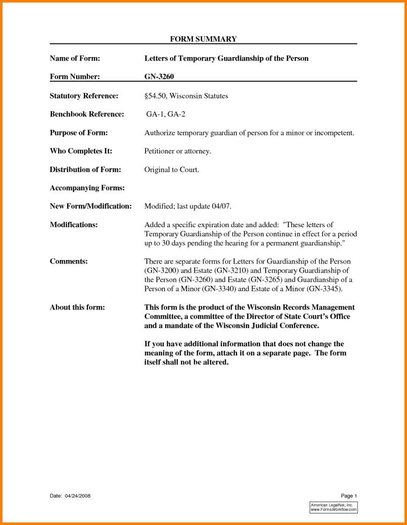 Legal Guardianship Letter Template - Temporary Guardianship Letter Template for Travel
